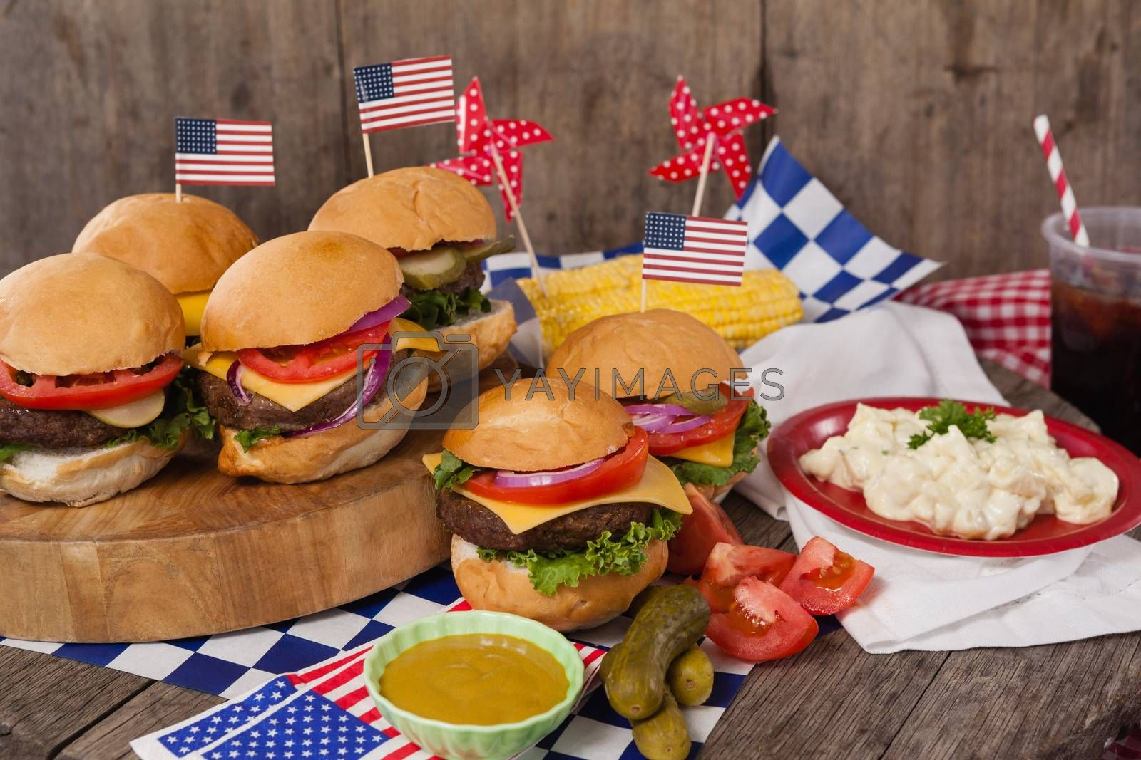 Snacks decorated with 4th july theme on wooden table