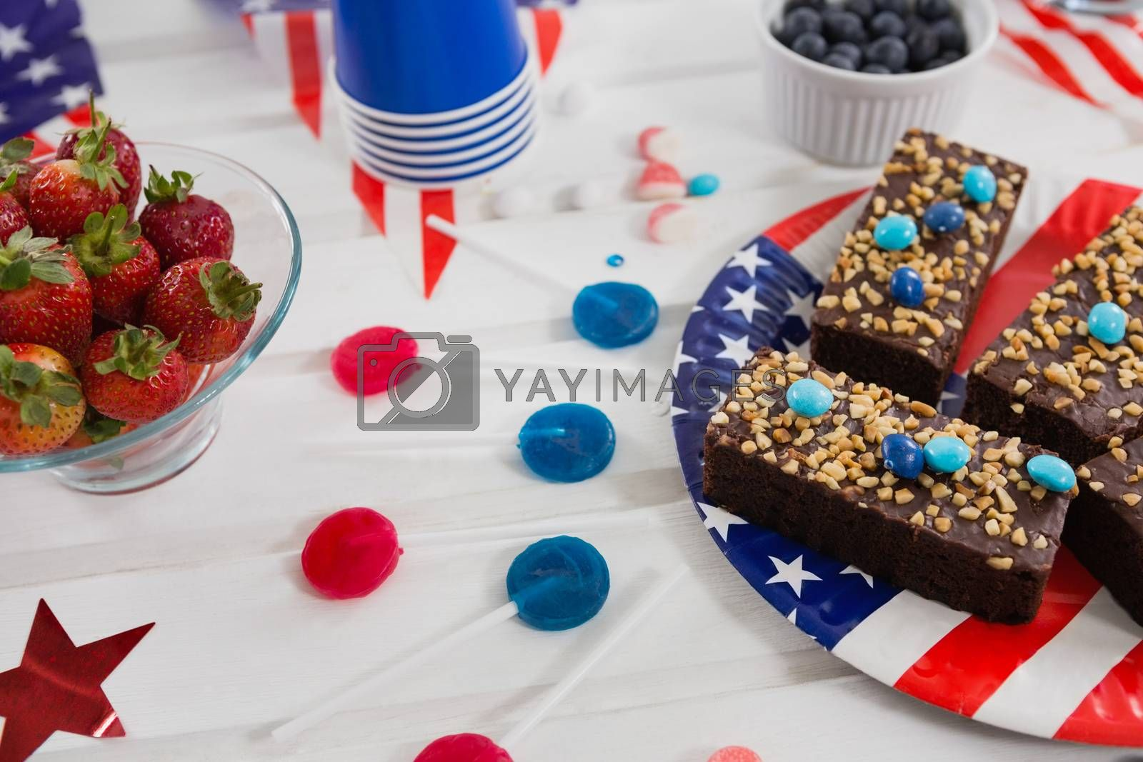 Sweet food decorated with 4th july theme on plate