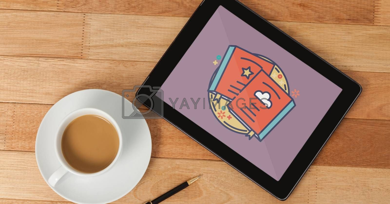 Tablet with travel icon on the screen by Wavebreakmedia