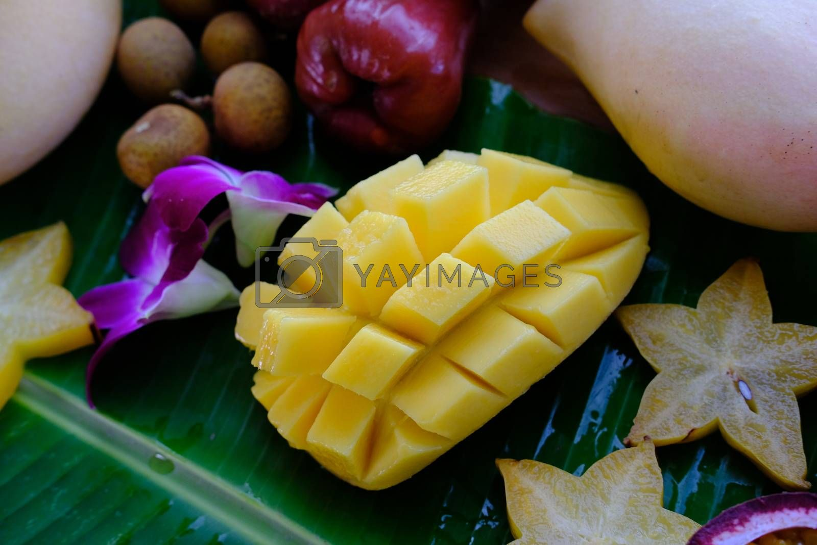 Delicious Fresh exotic fruits slices of carambola, mango, longan and pink apple on banana leaf.