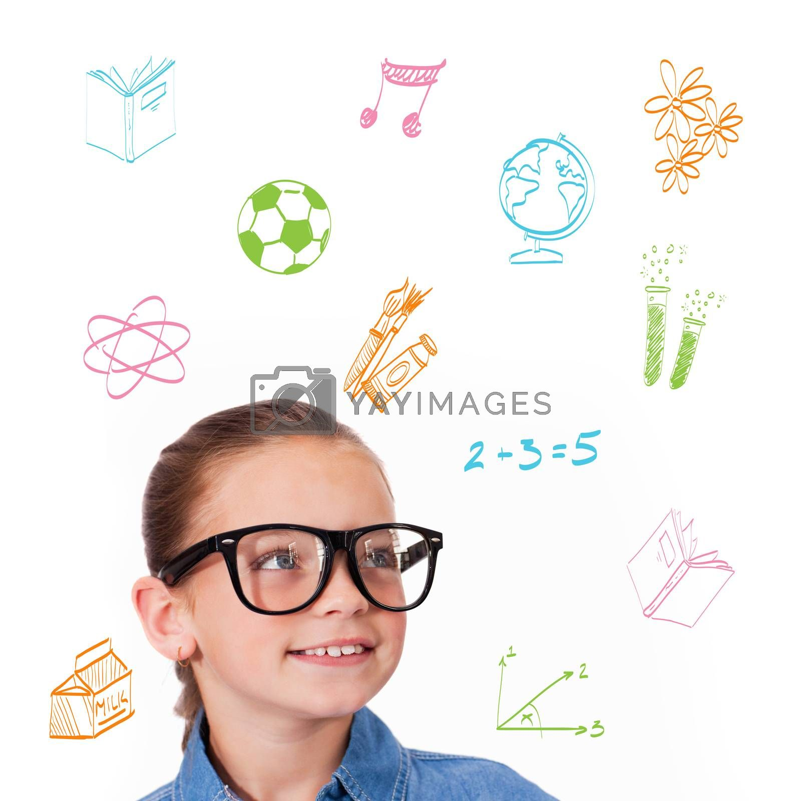 Cute pupil smiling against school subjects doodles
