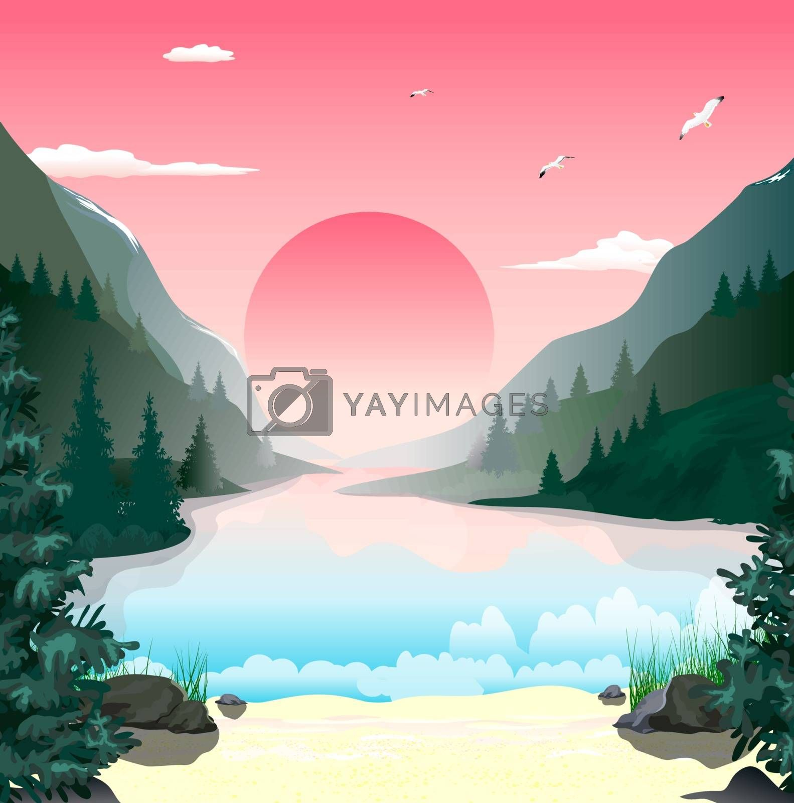 Mountain landscape. The lake in the mountains. Forest. Sunny dawn. The sky with clouds. Sandy beach with stones and grass.