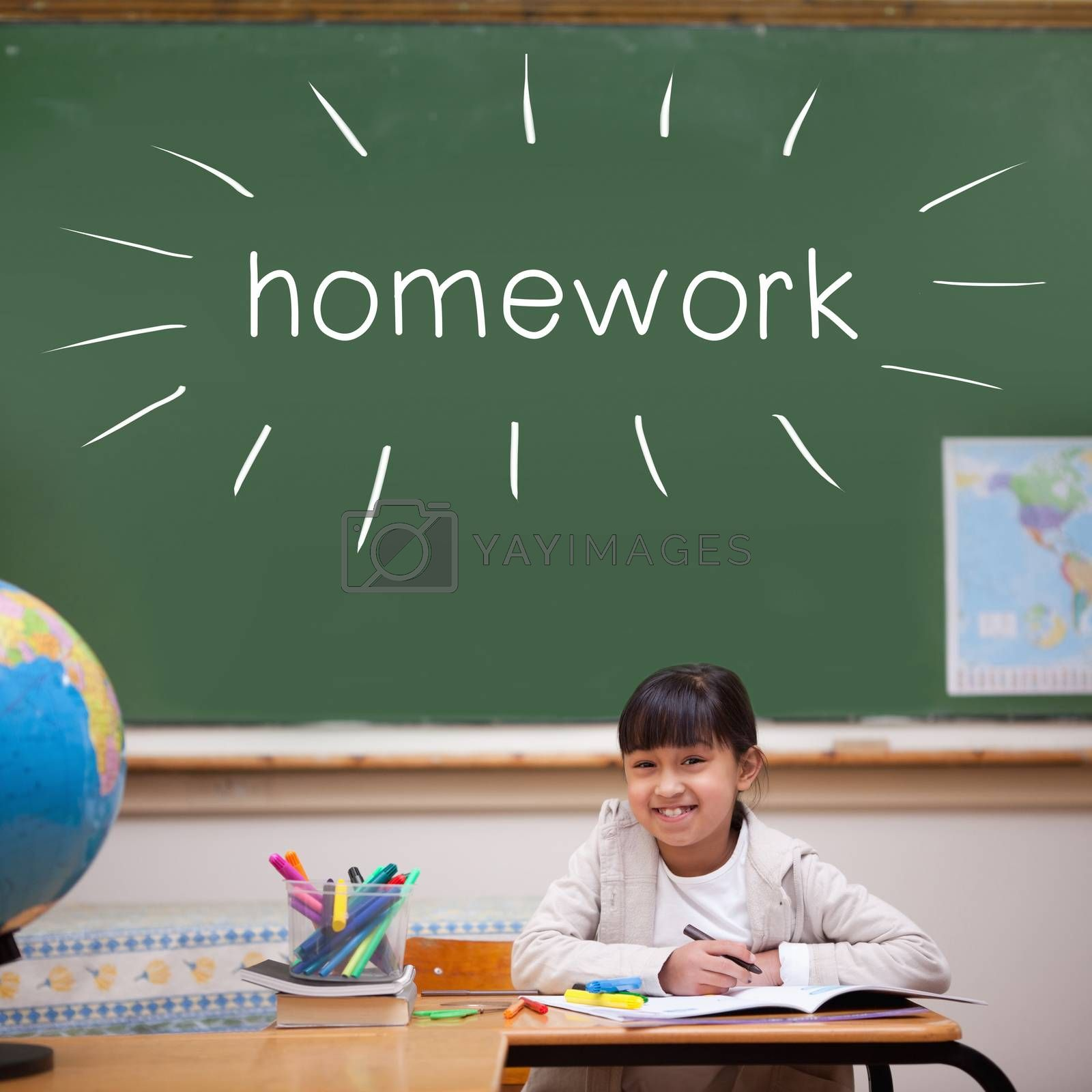 The word homework against cute pupil sitting at desk