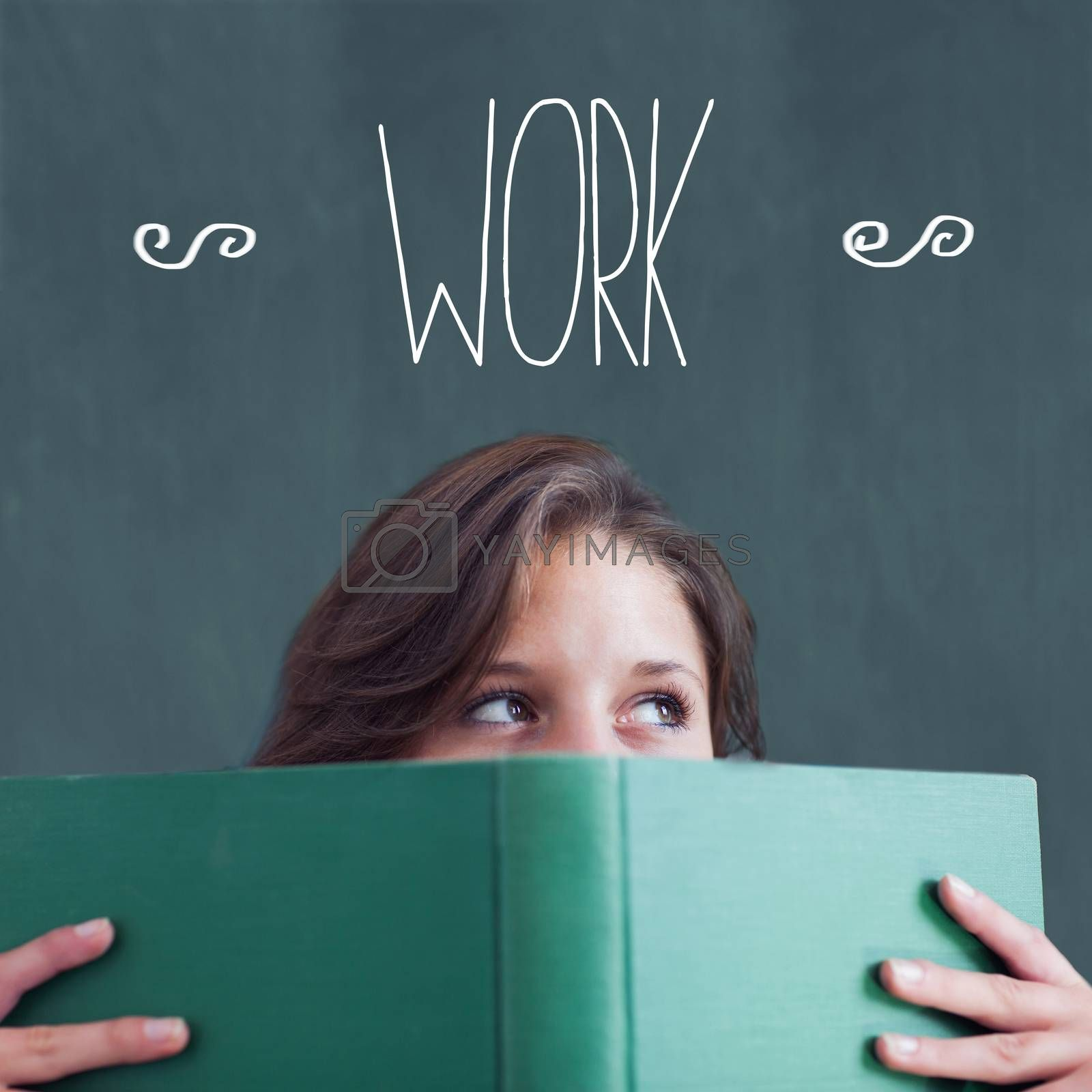 The word work against student holding book