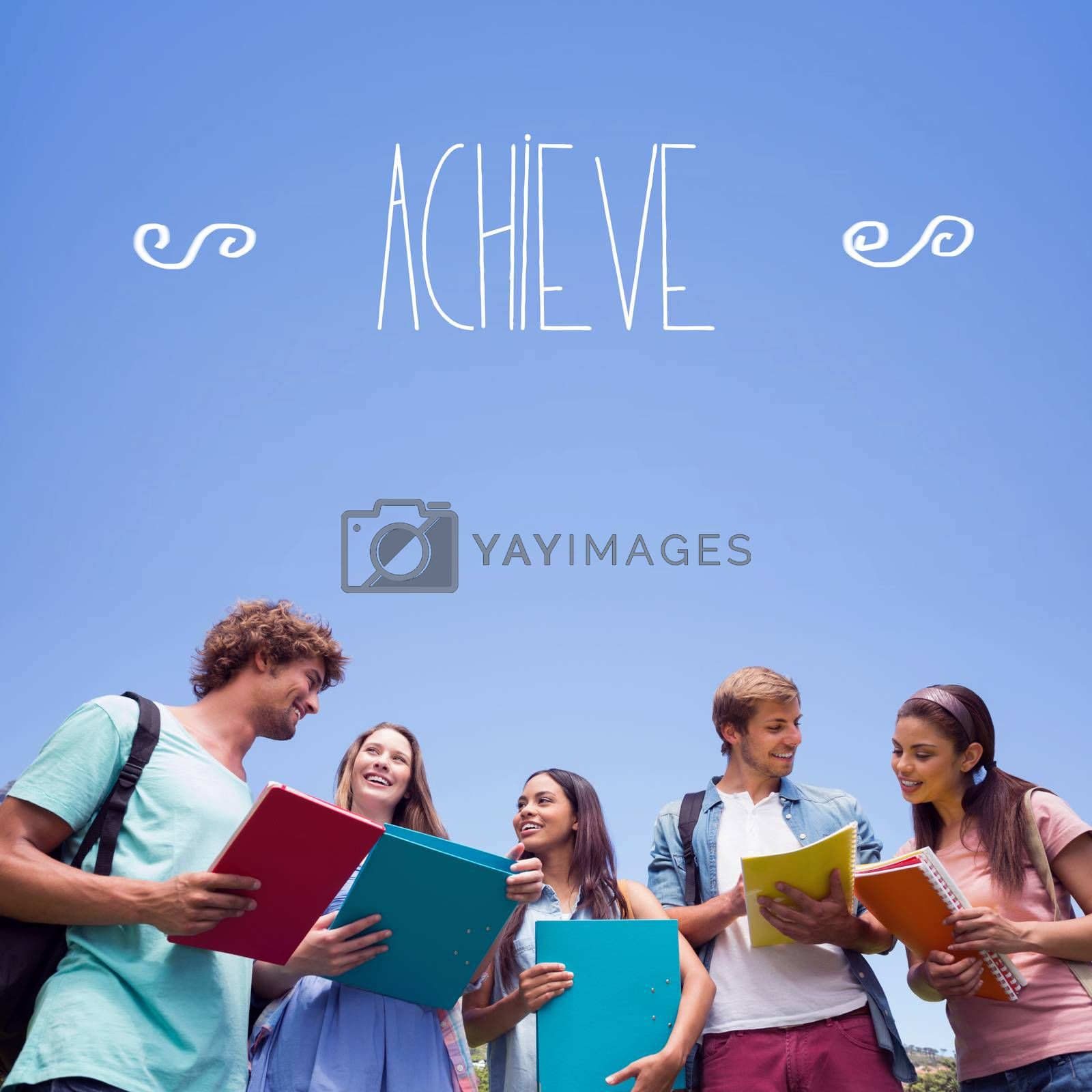 Achieve against students standing and chatting together  by Wavebreakmedia