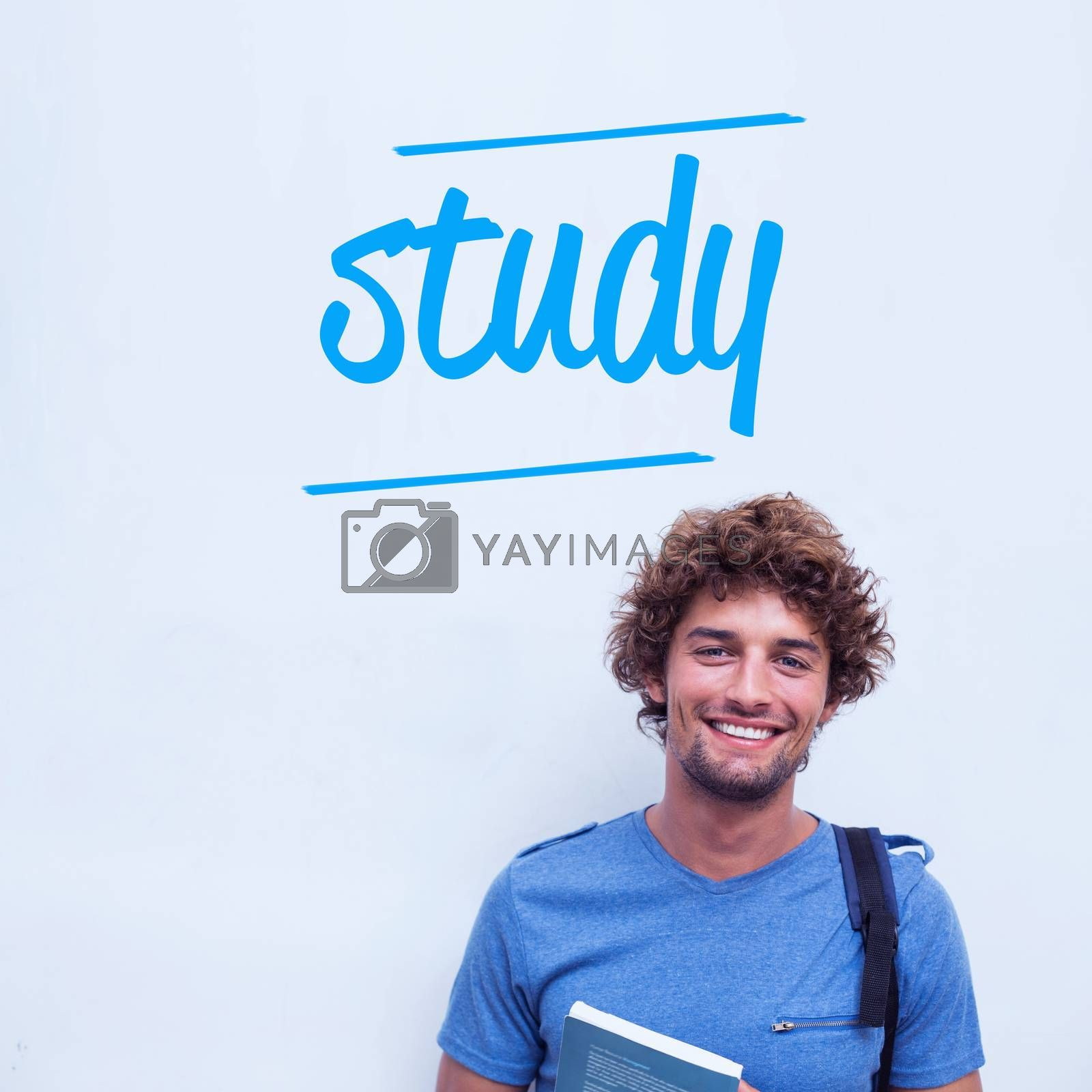 The word study against happy student holding book
