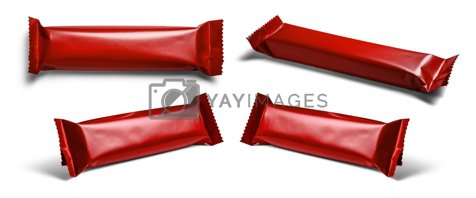 Red packaging template for your design. In different angles on a white background.