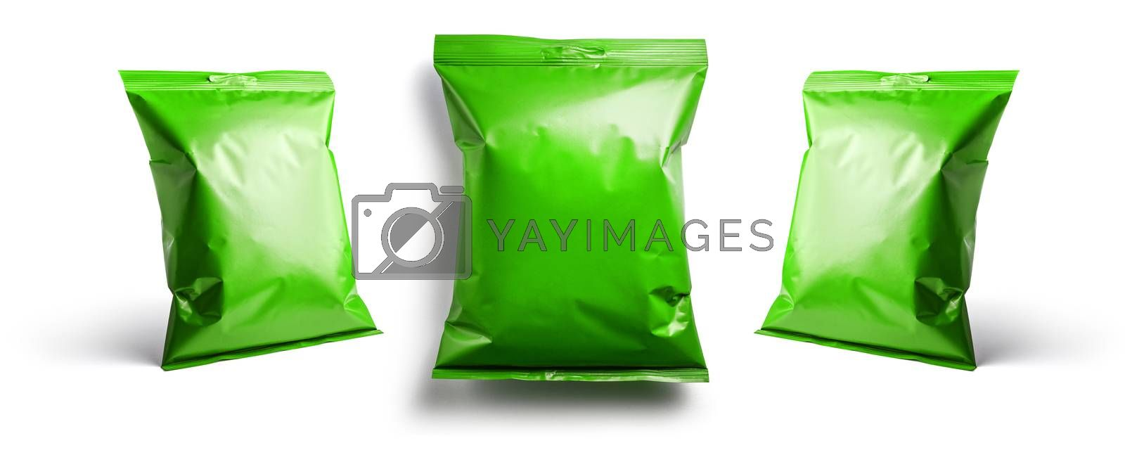 Green packaging template for your design. In different angles on a white background.