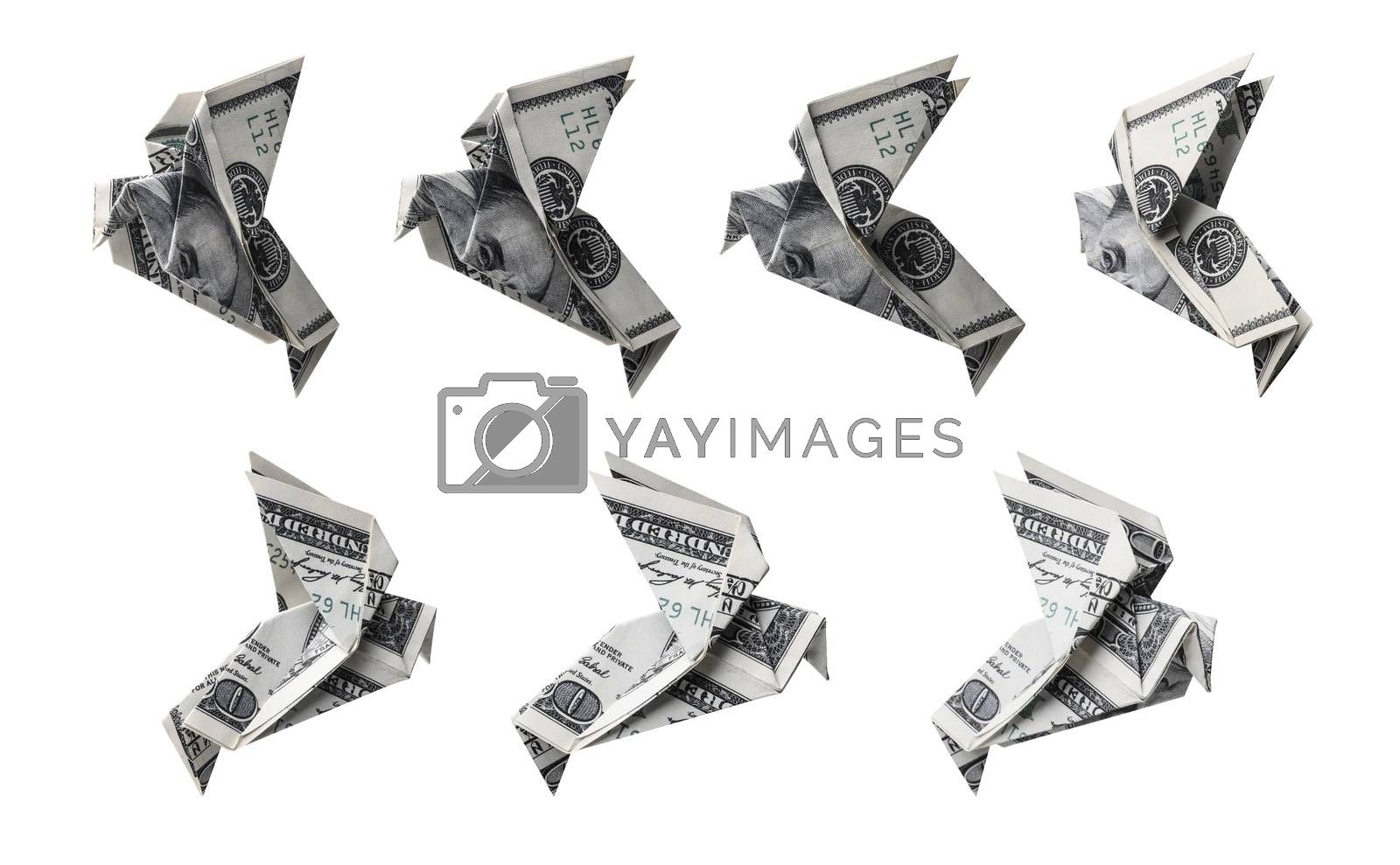 Origami set of one hundred dollar banknotes in the form of a bird in different angles.