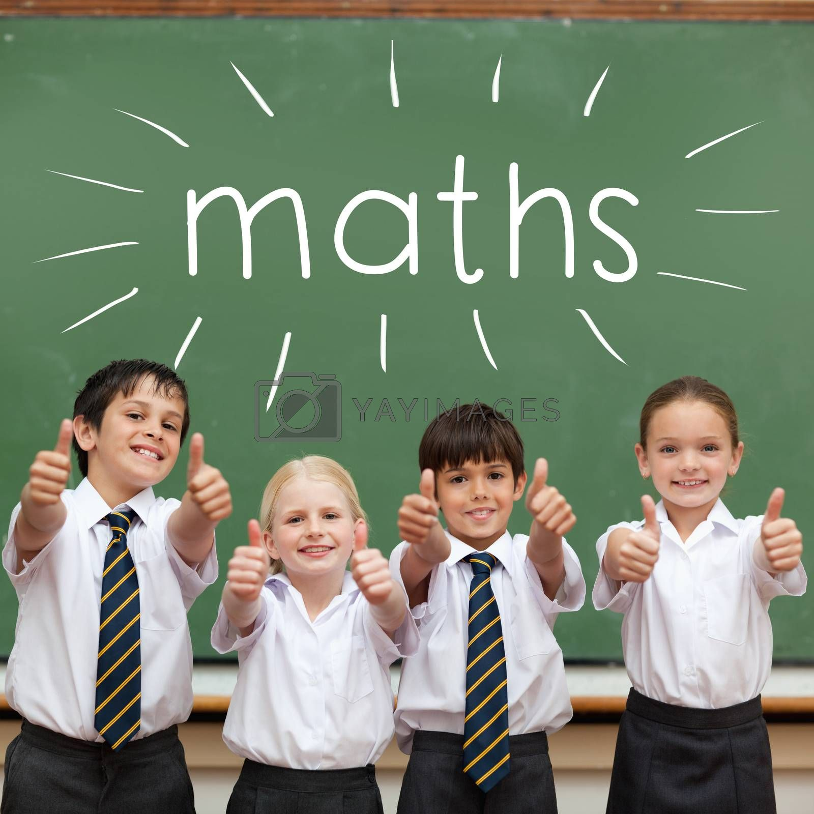 Maths against cute pupils showing thumbs up in classroom by Wavebreakmedia