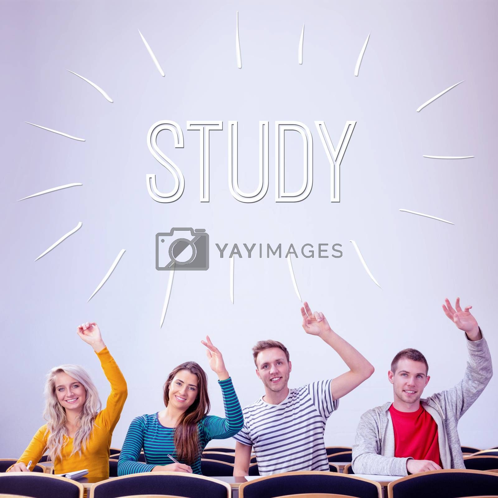 Study against college students raising hands in the classroom by Wavebreakmedia