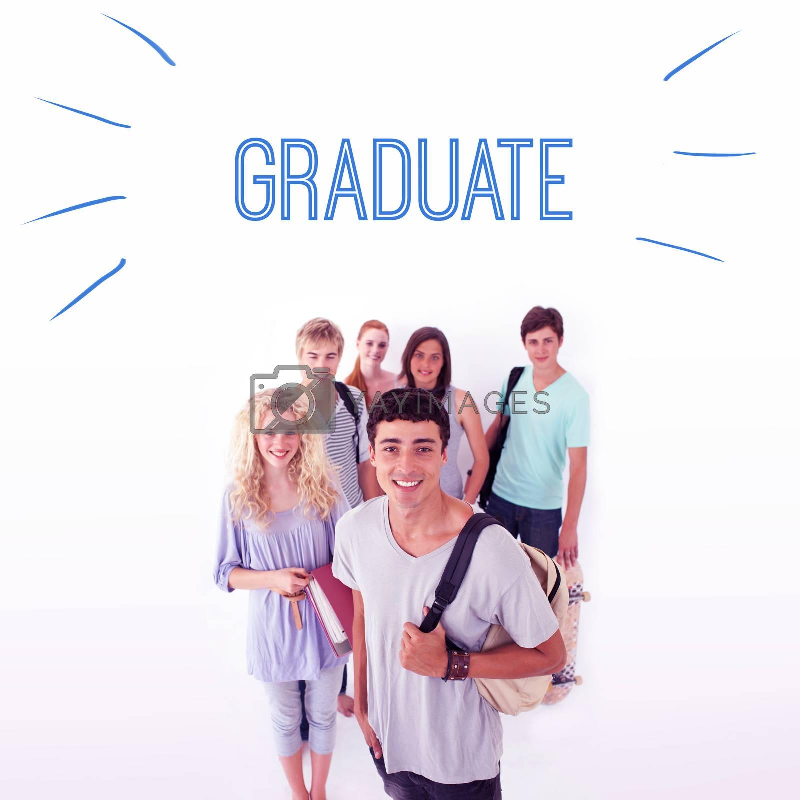 Graduate against smiling students by Wavebreakmedia