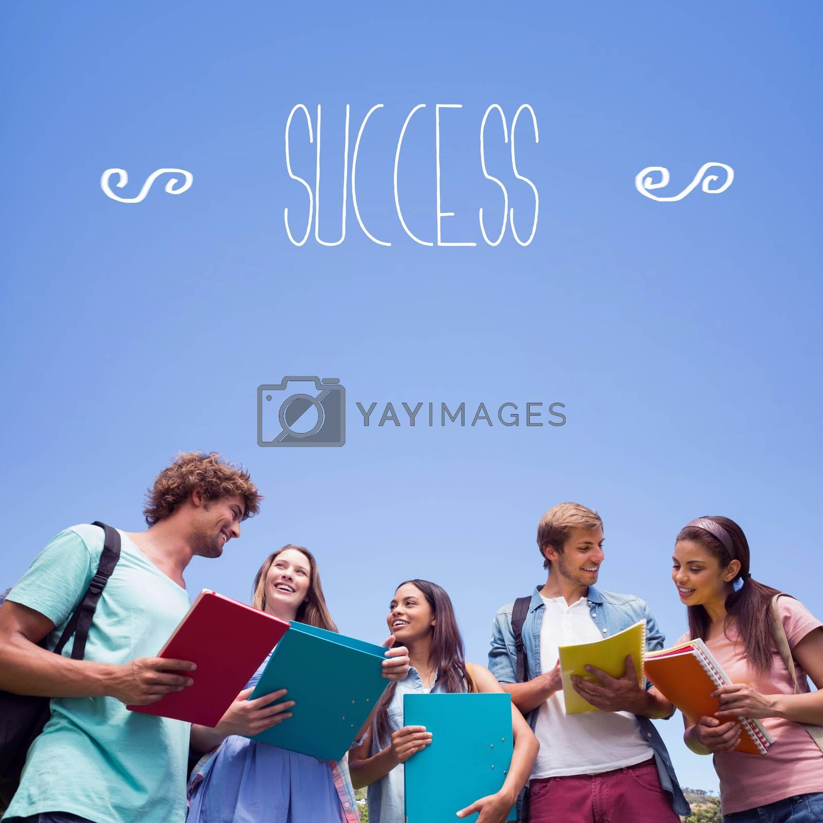 Success against students standing and chatting together  by Wavebreakmedia