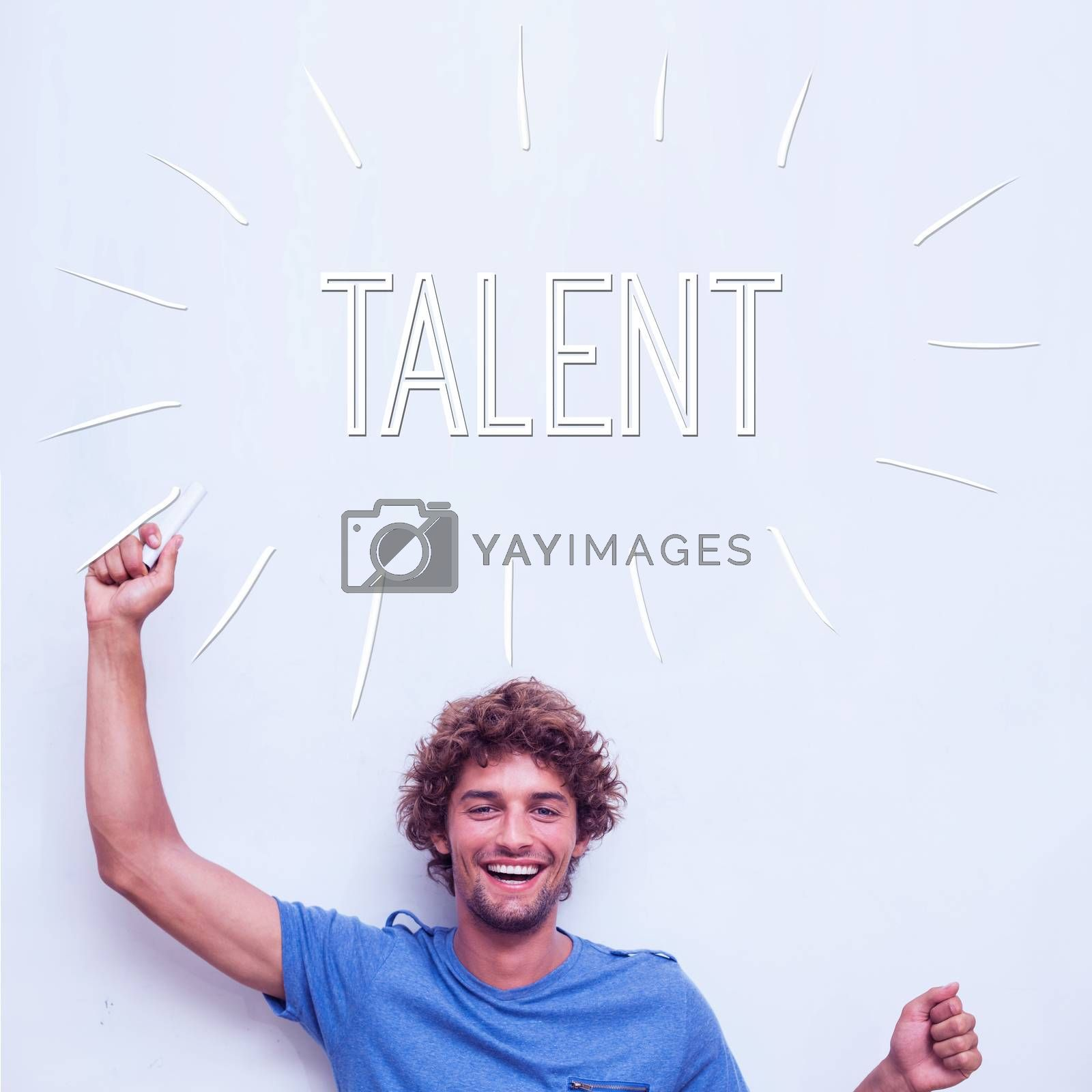 The word talent against happy student holding chalk