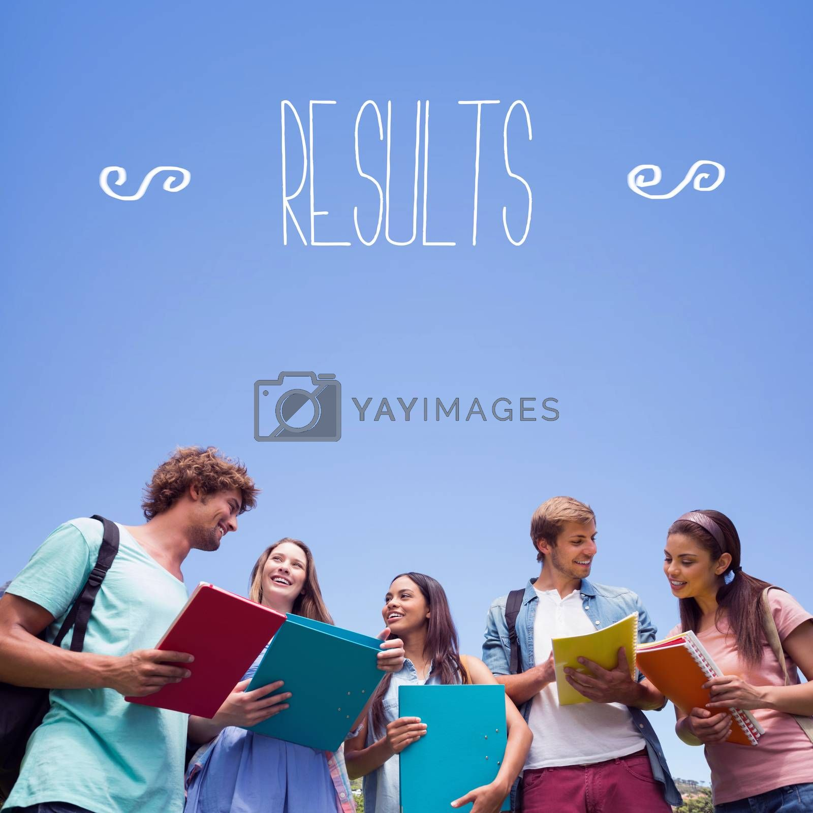Results against students standing and chatting together  by Wavebreakmedia