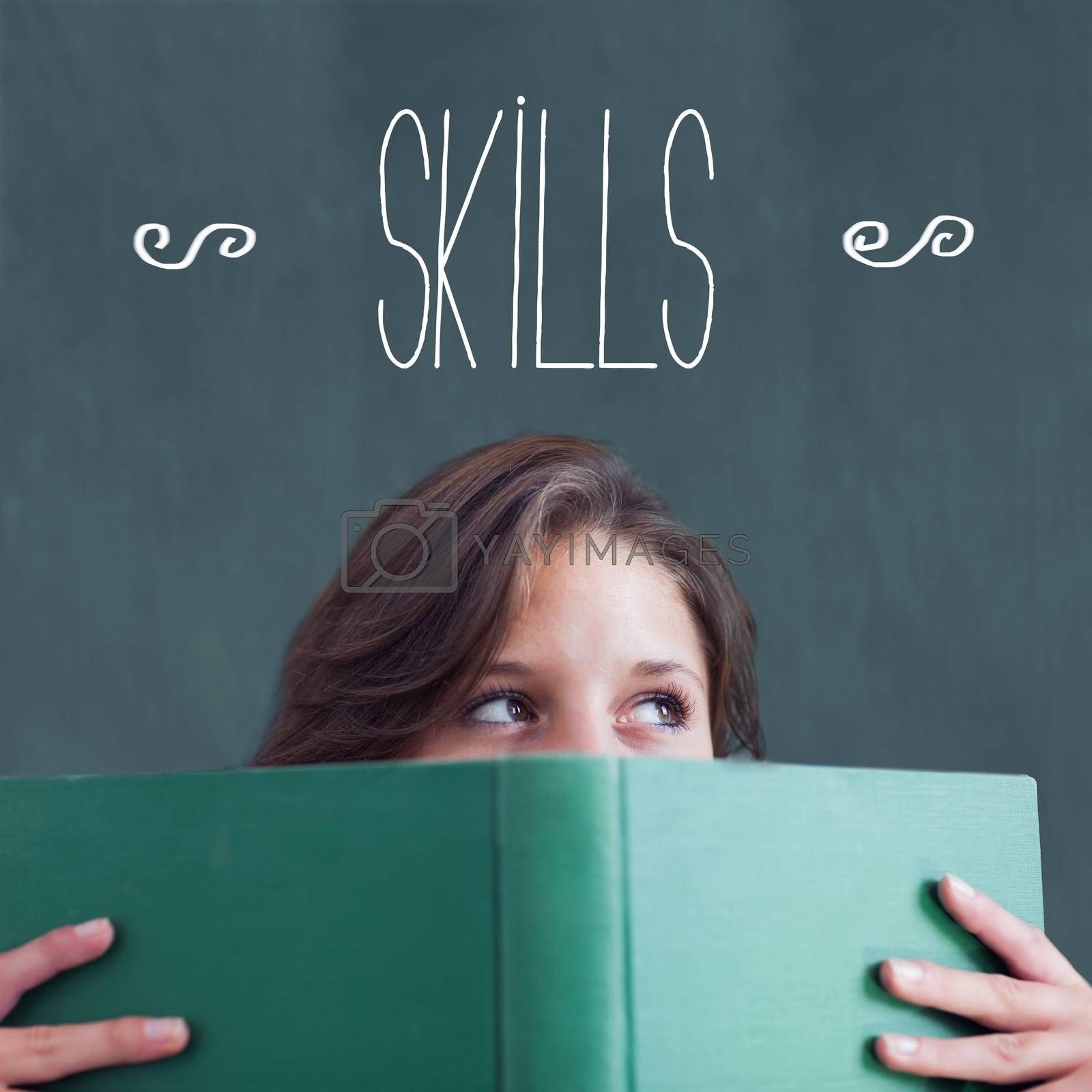 The word skills against student holding book