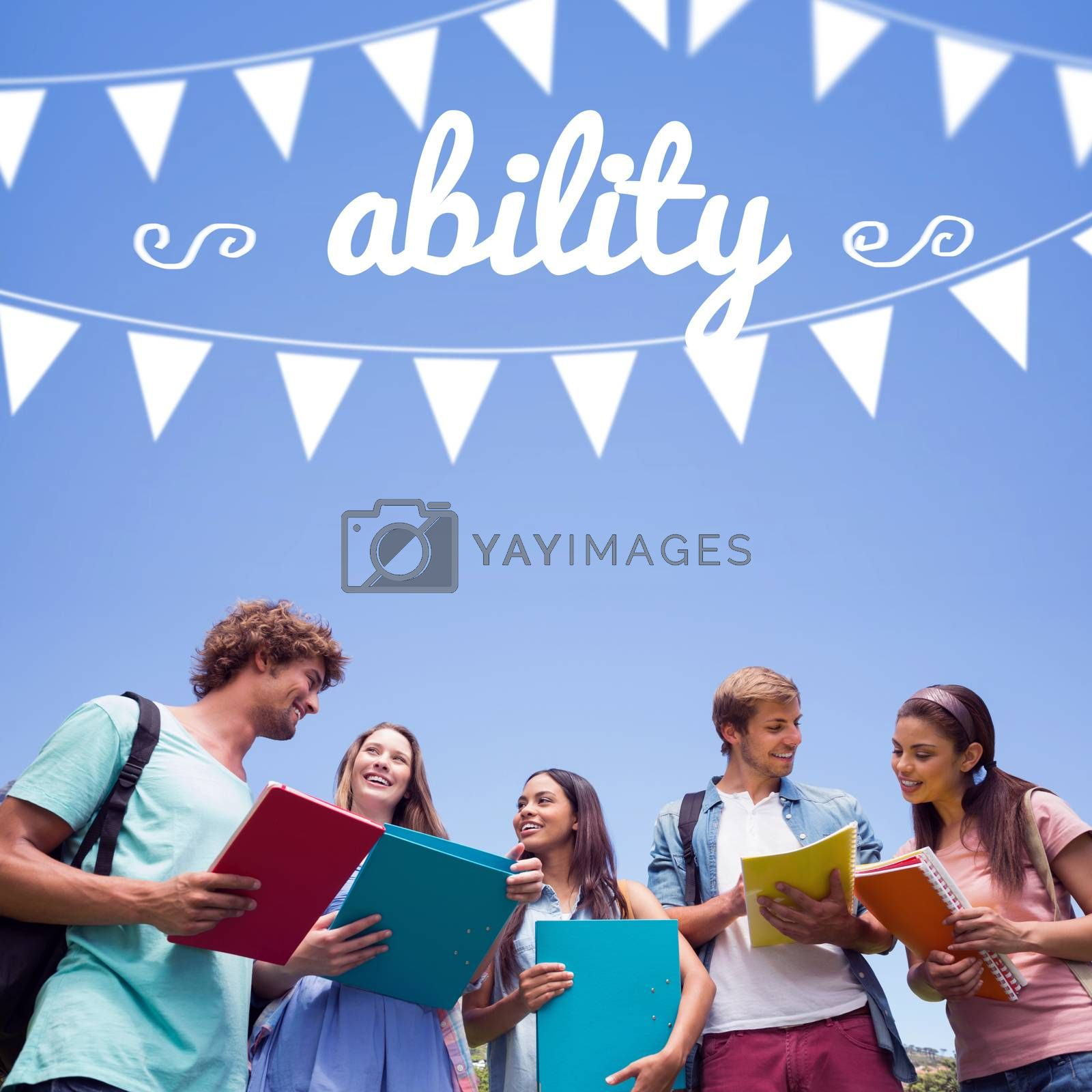 Ability against students standing and chatting together  by Wavebreakmedia