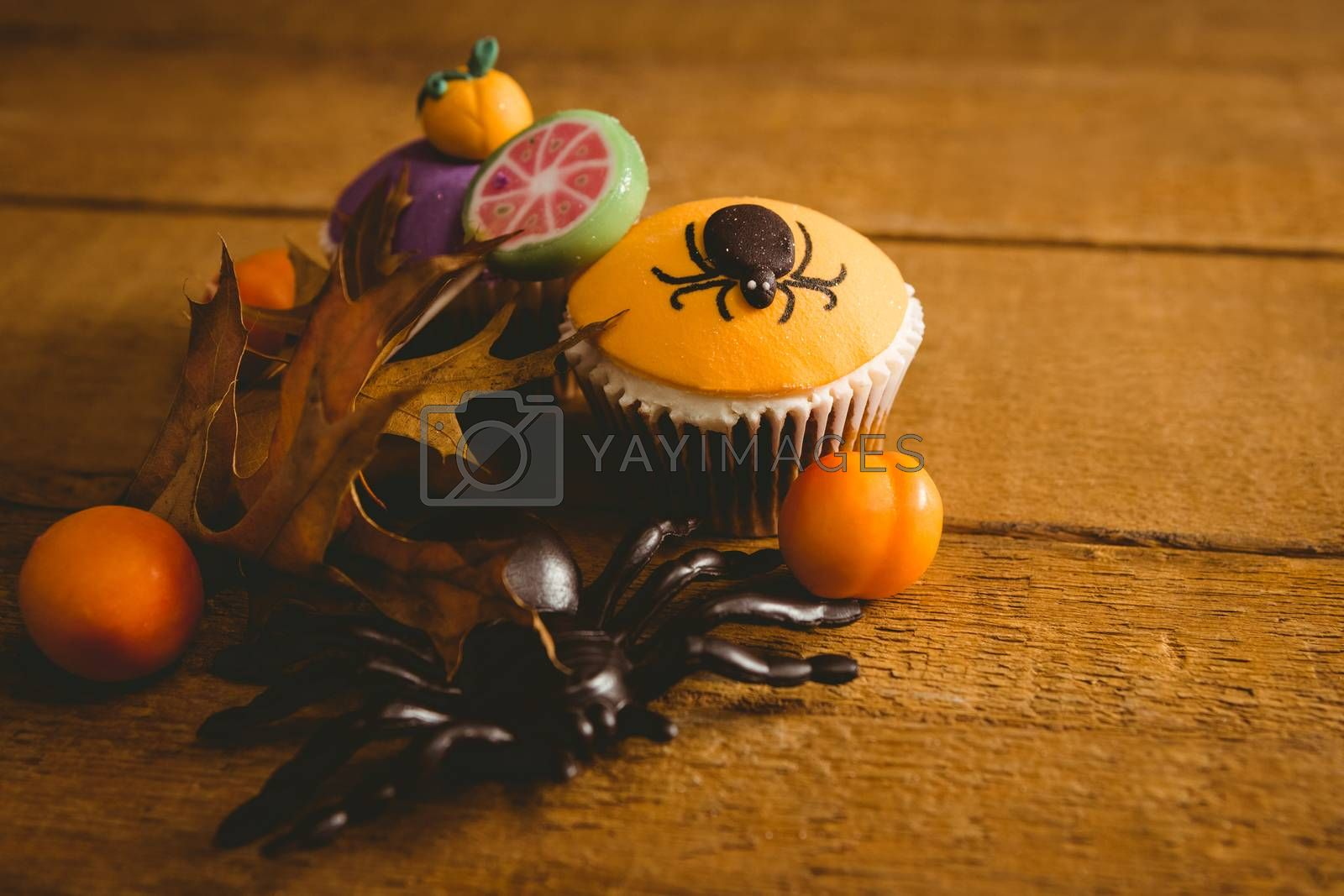 High angle view of Halloween decorations with cup cake on table