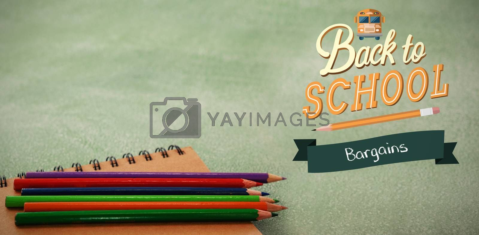 back to school against colored pencils with spiral notebook