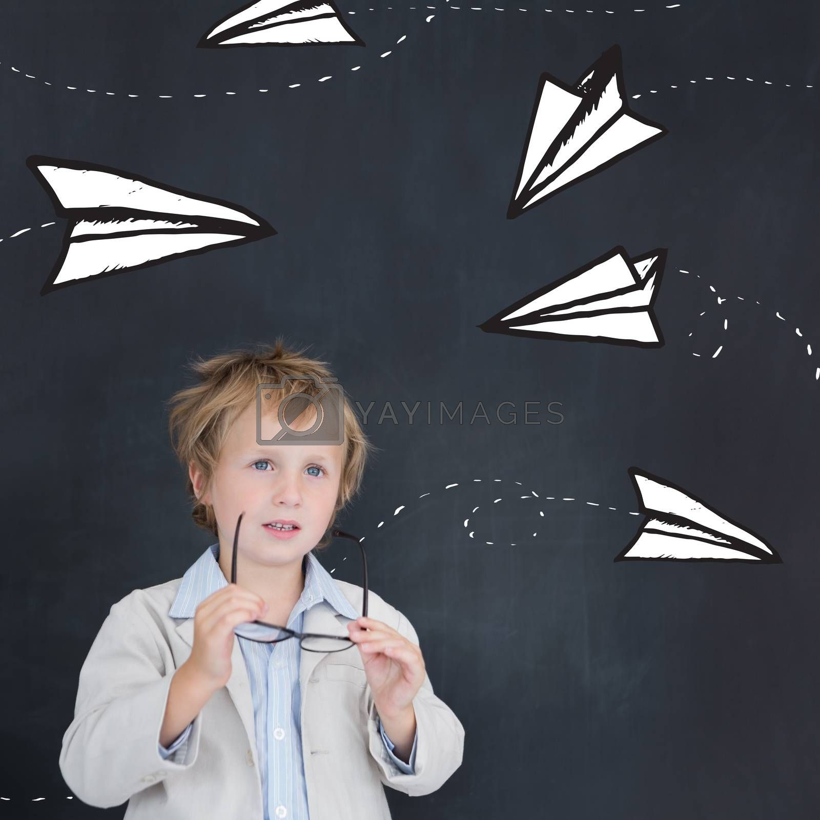 Cute pupil holding glasses against paper airplanes doodle