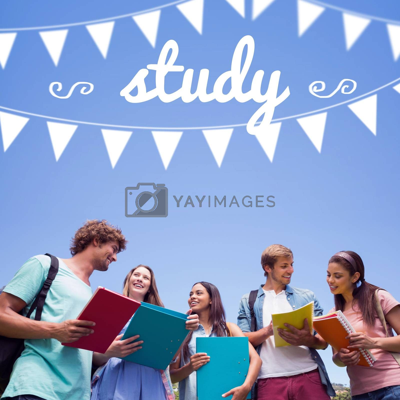 Study against students standing and chatting together  by Wavebreakmedia