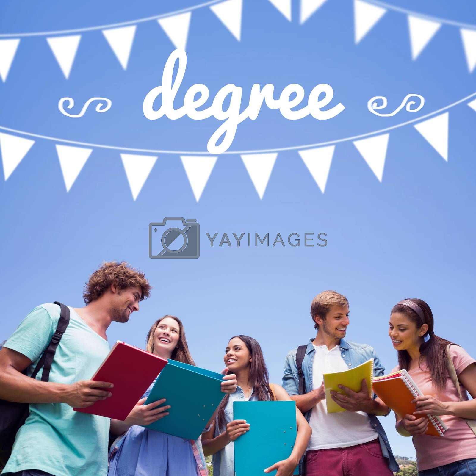 Degree against students standing and chatting together  by Wavebreakmedia