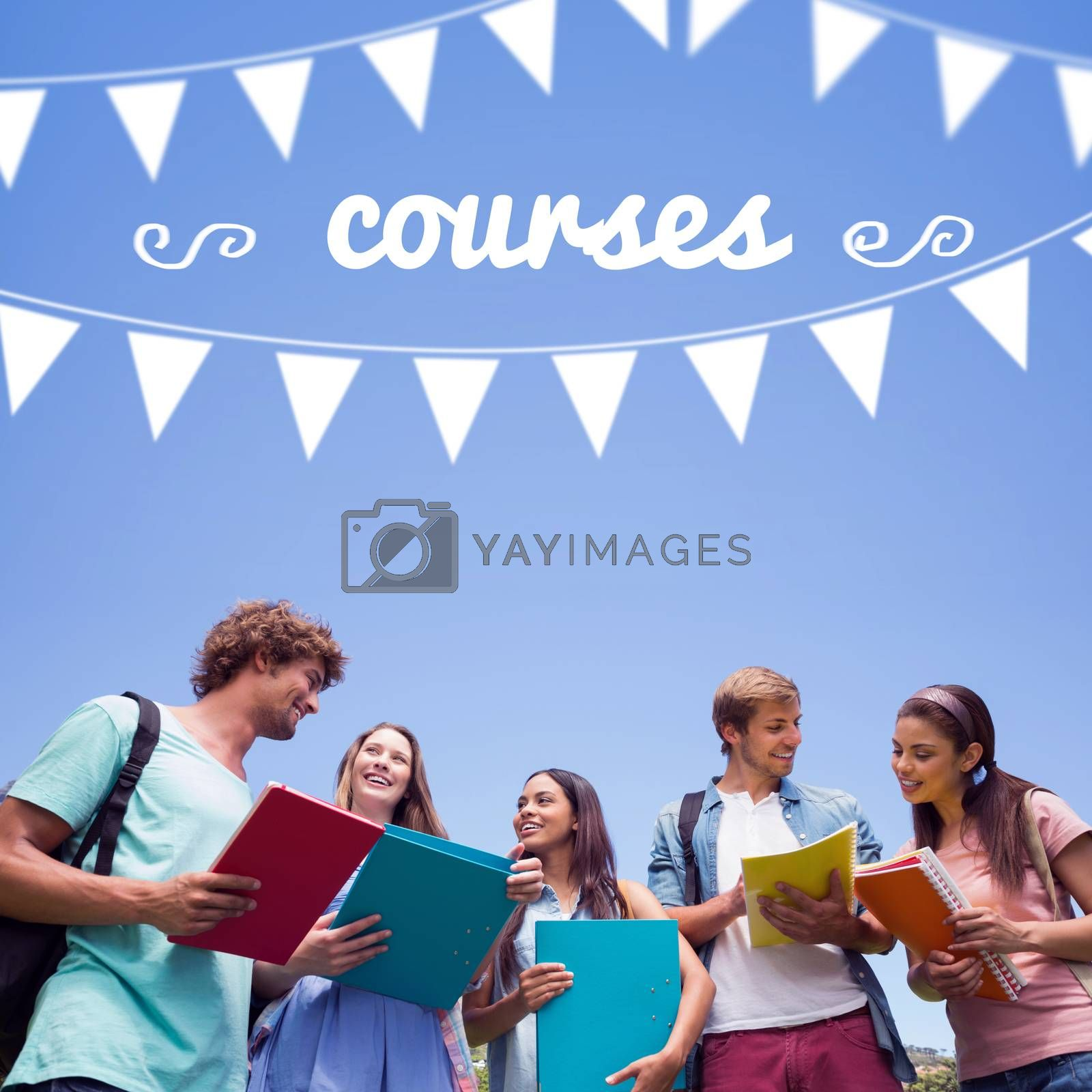 Courses against students standing and chatting together  by Wavebreakmedia