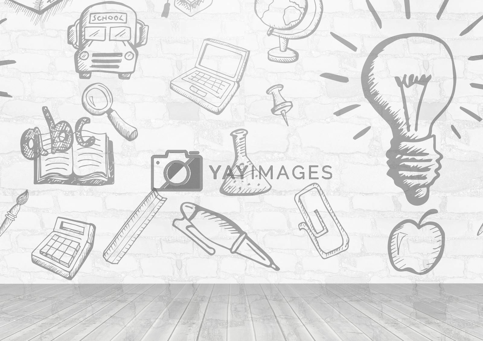 Digital composite of education learning graphics in room