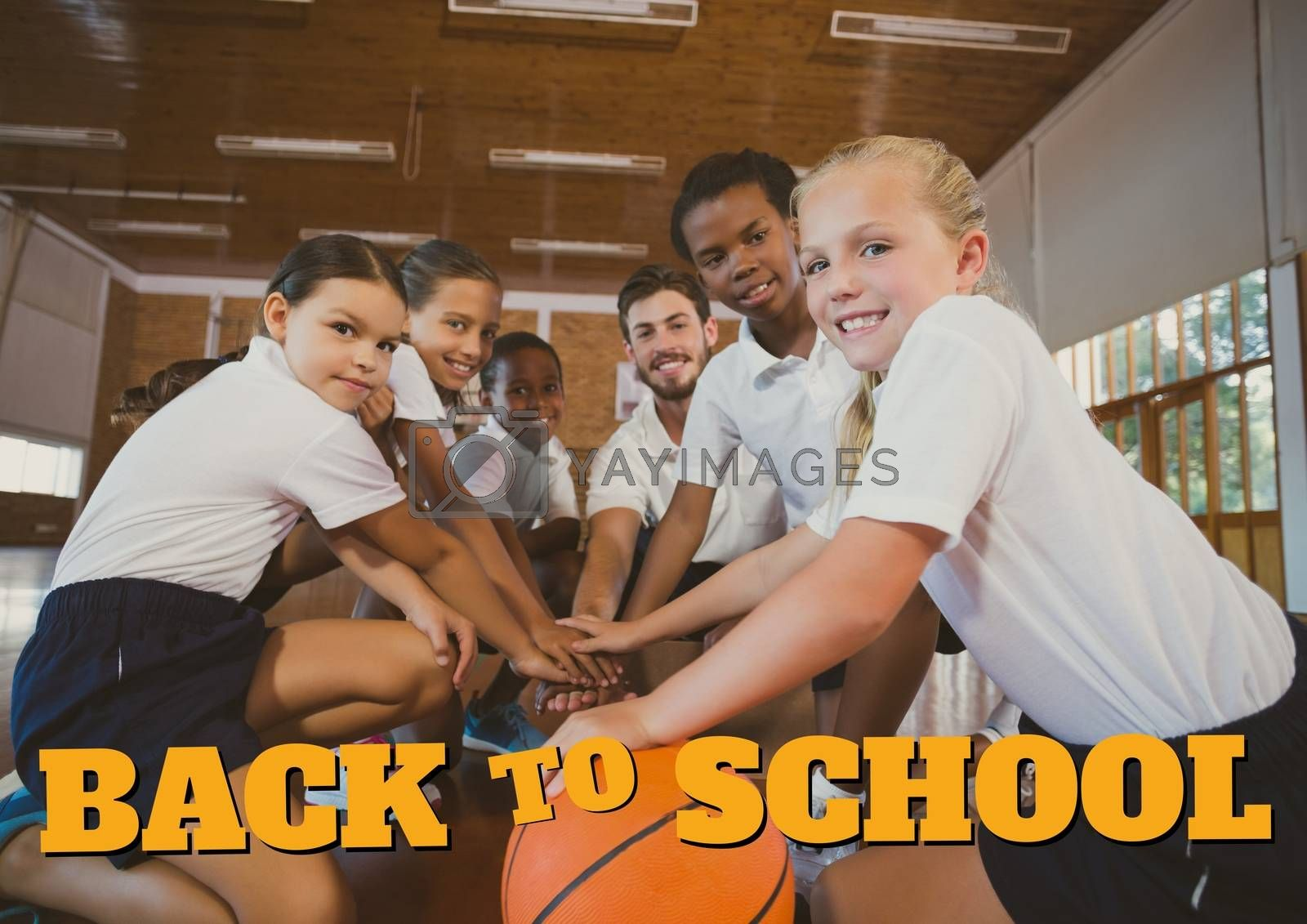 Digital composite of Education and back to school text and kids playing basketball
