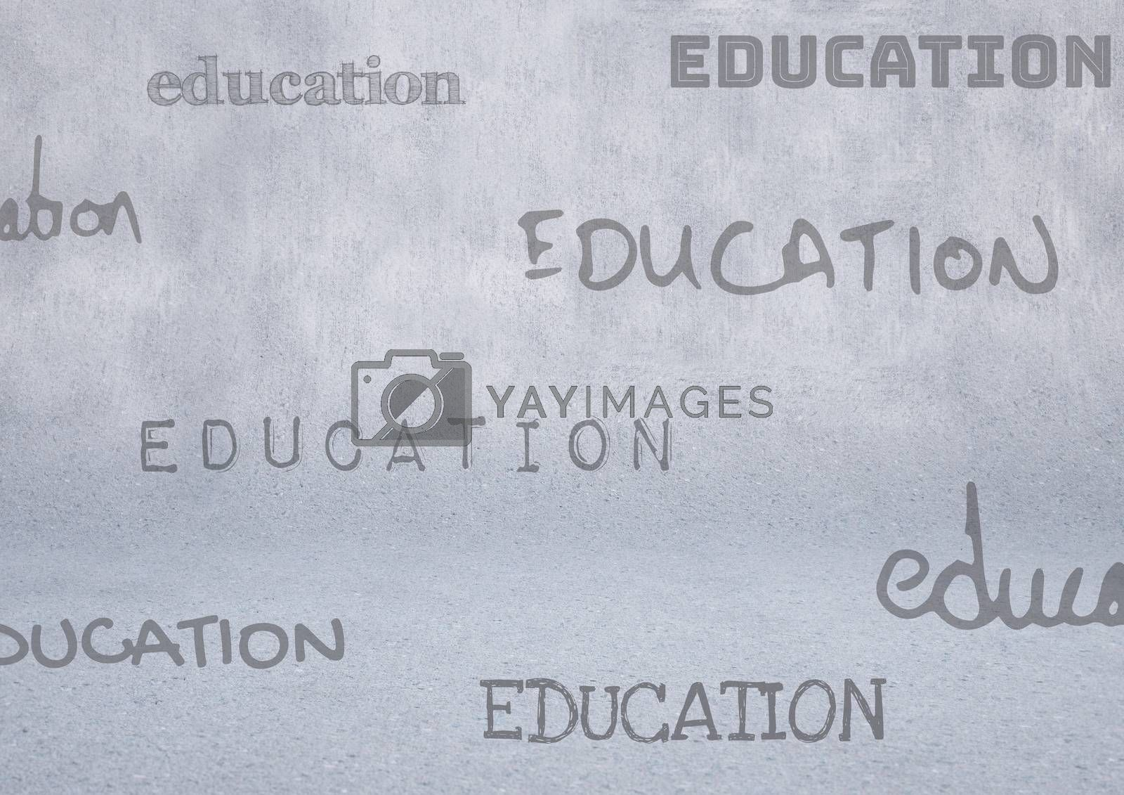 Digital composite of education text with grey background