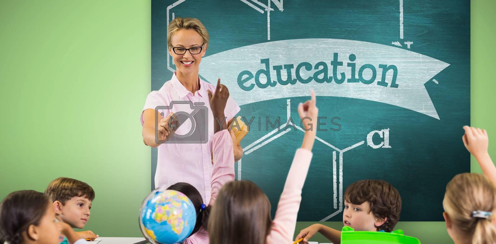 Students raising hands while teacher teaching against education against green chalkboard