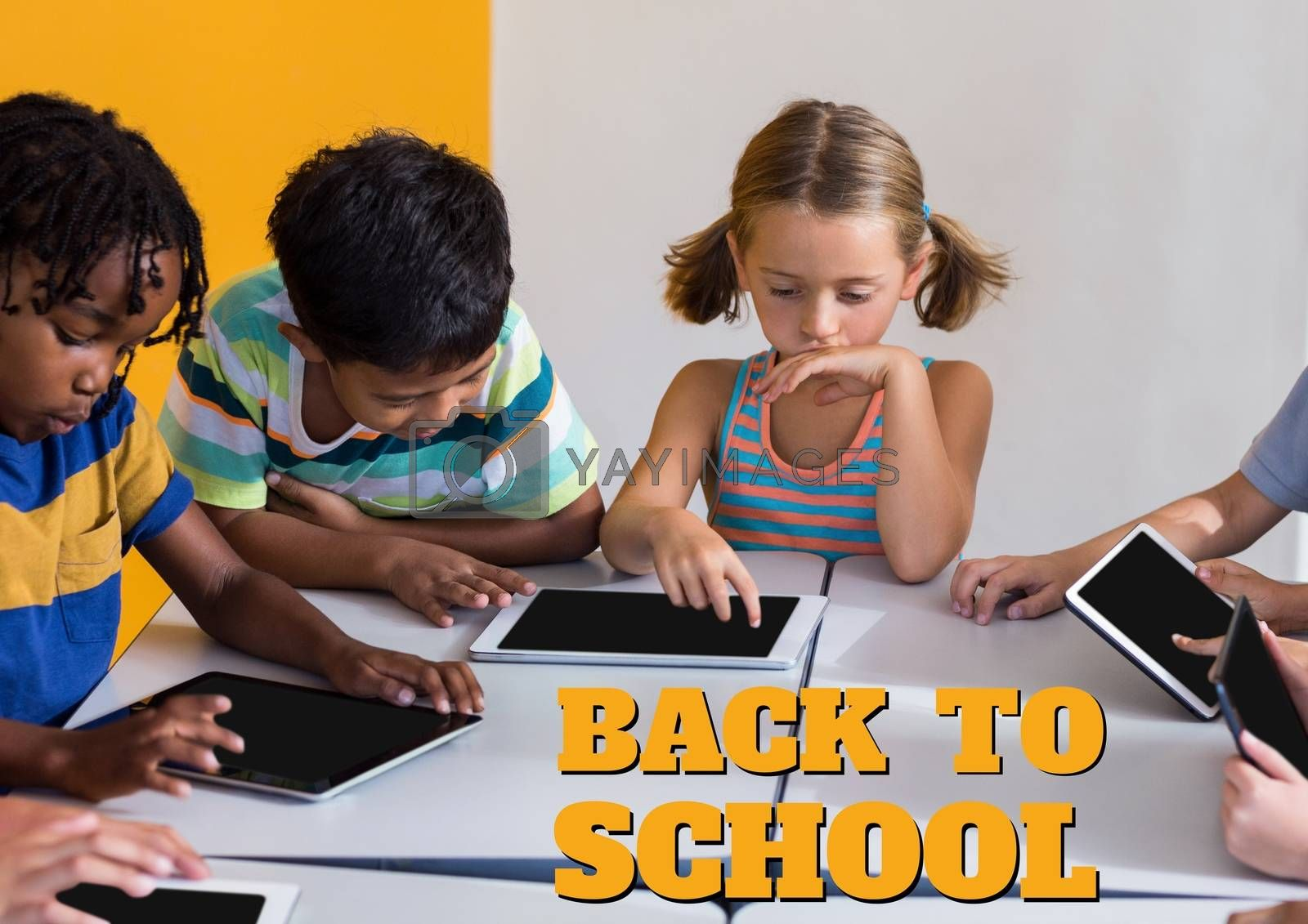 Digital composite of Education and back to school text and kids looking at a tablet at class
