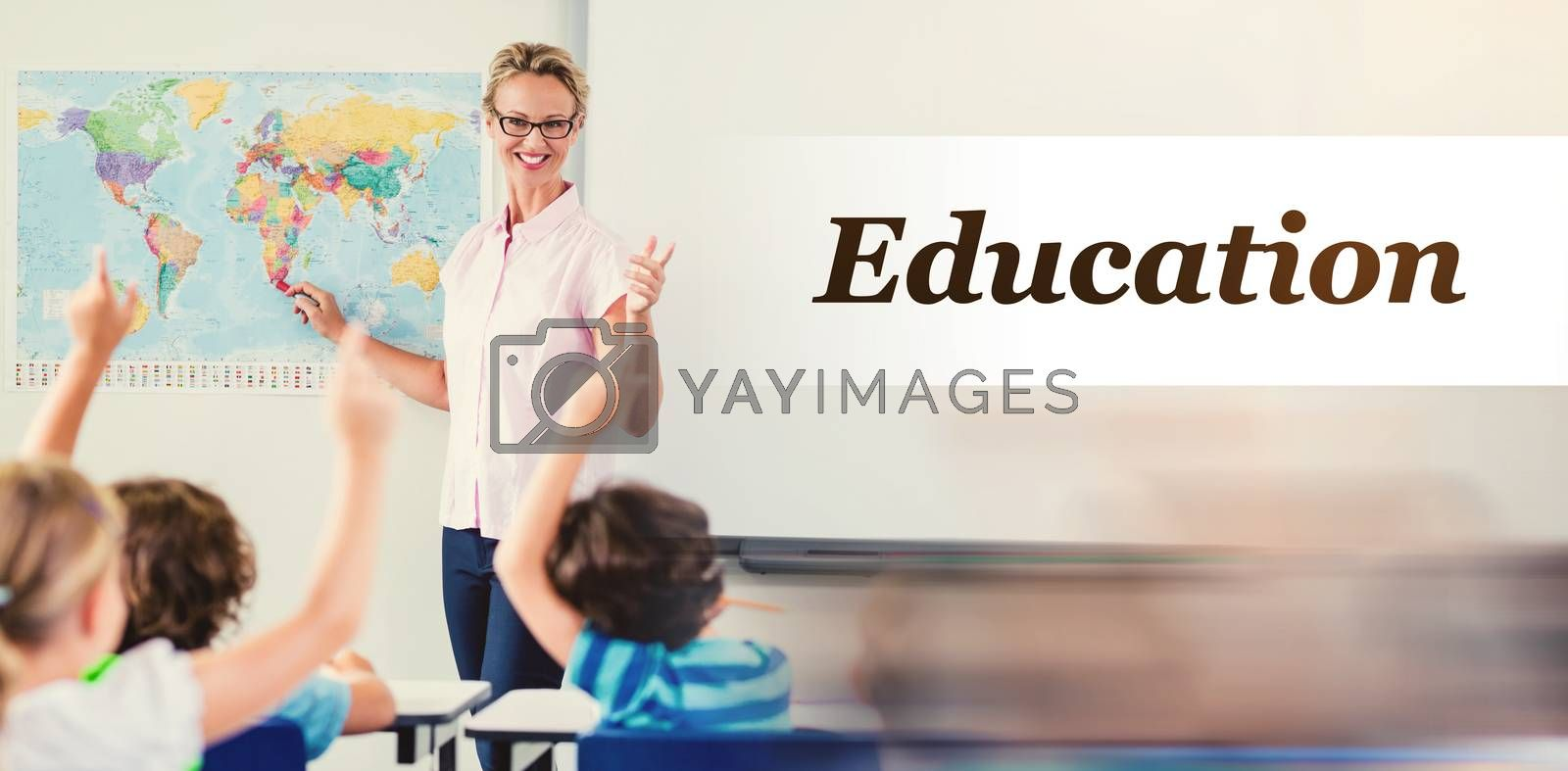 Digitally generated image of Education text  against teacher teaching kids in classroom