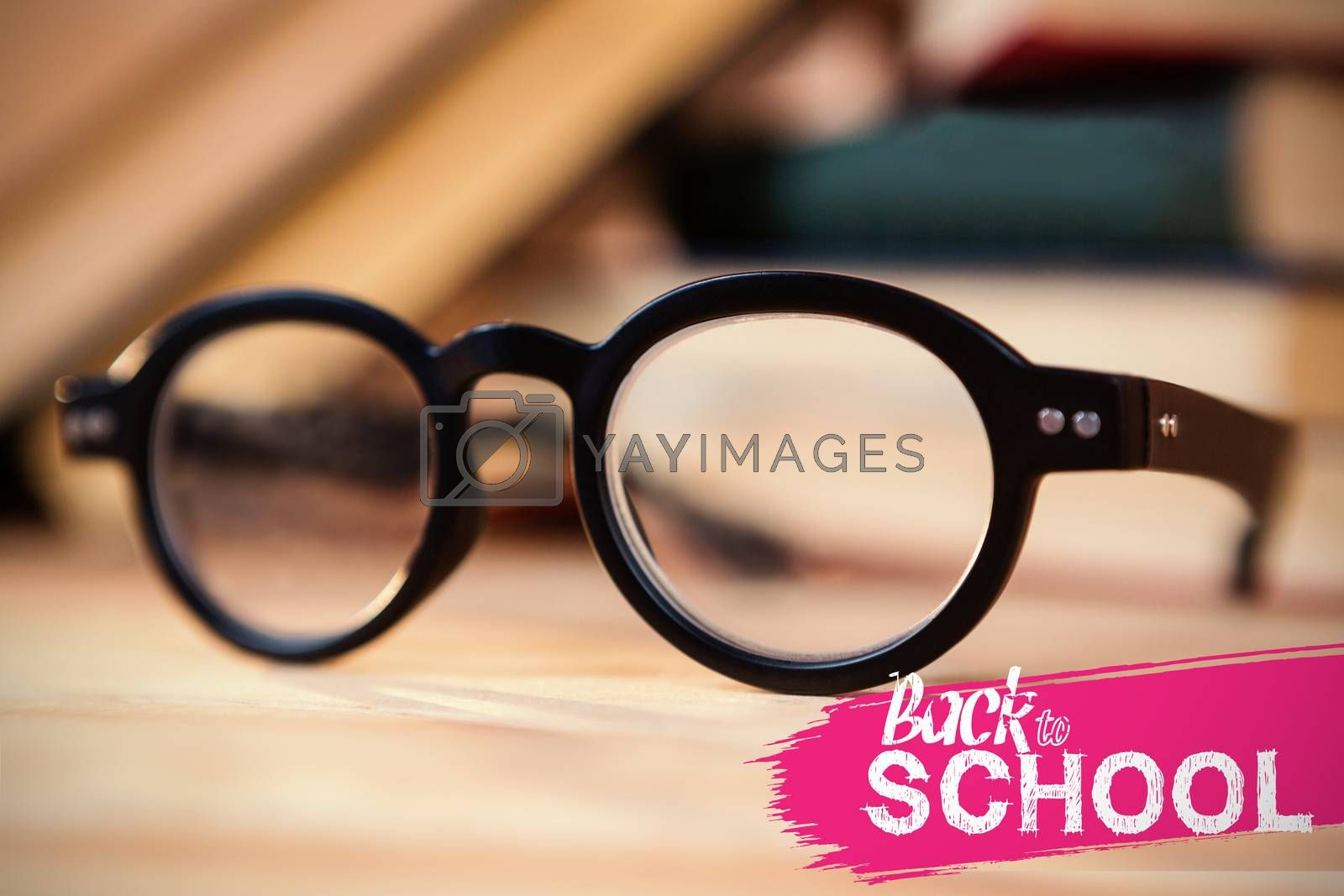back to school against spectacles on table