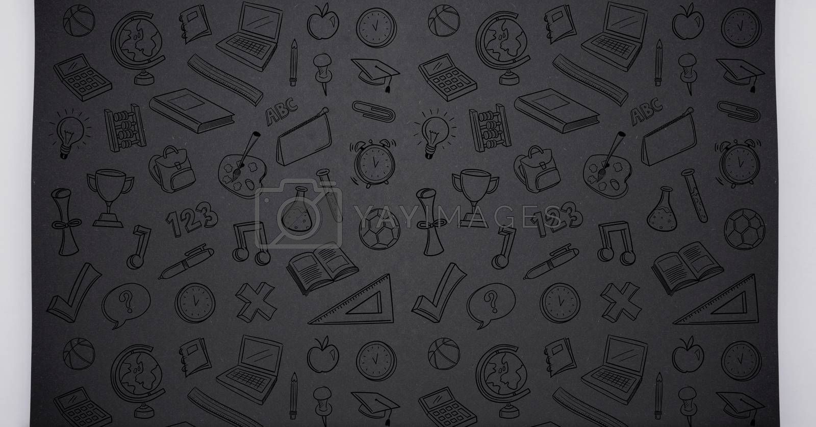 Digital composite of Education drawing icons on blackboard