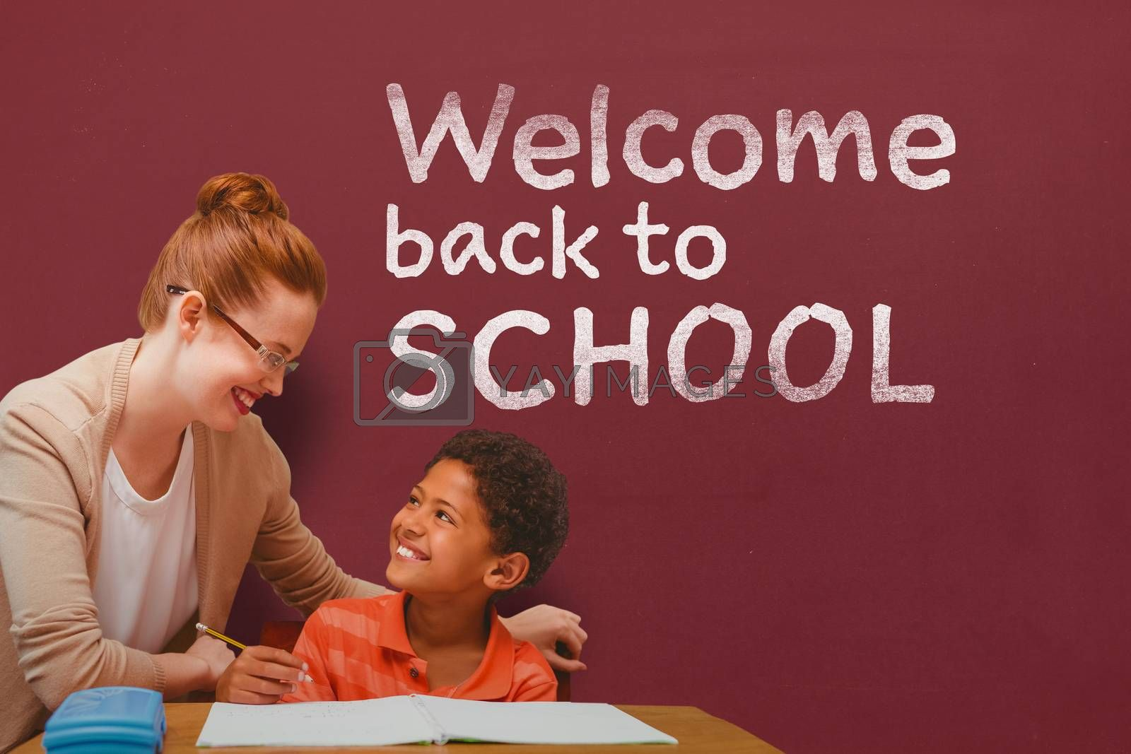 Teacher helping pupil against welcome back to school text against white background