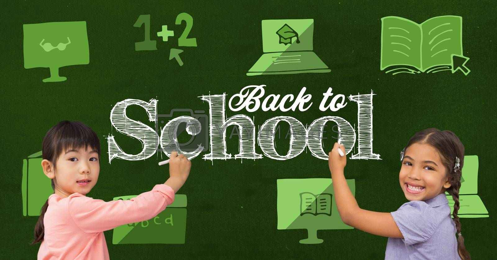 Digital composite of Schoolgirls writing Back to school text with online e-learning graphics