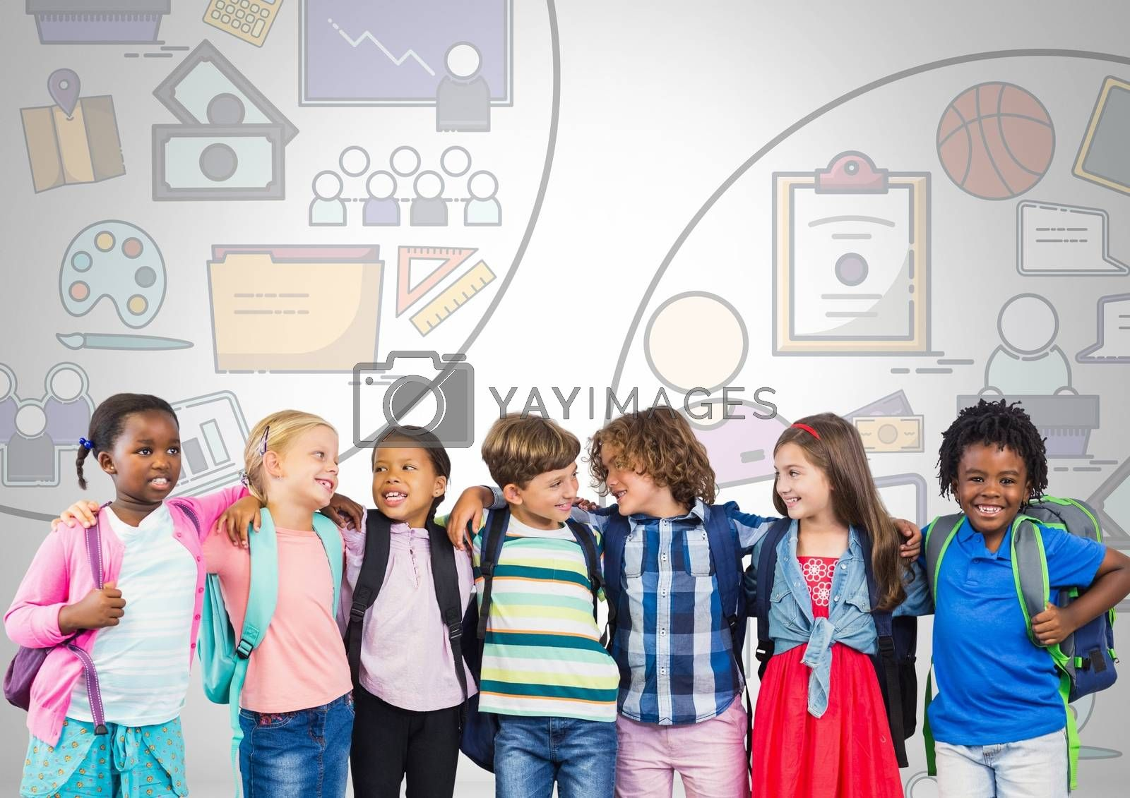 Digital composite of Group of kids with education graphics