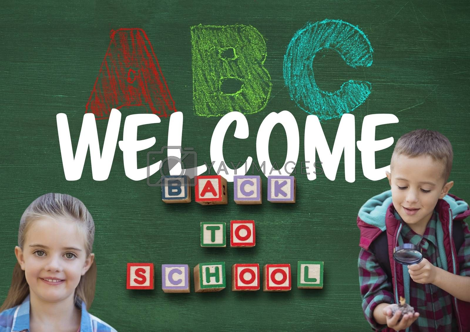 Digital composite of Kids and Welcome back to school ABC text on blackboard