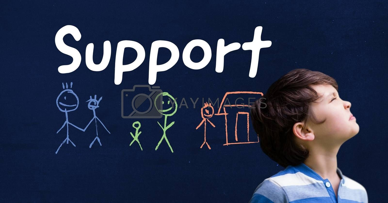 Digital composite of Boy and Support text with stick people family drawings on blackboard