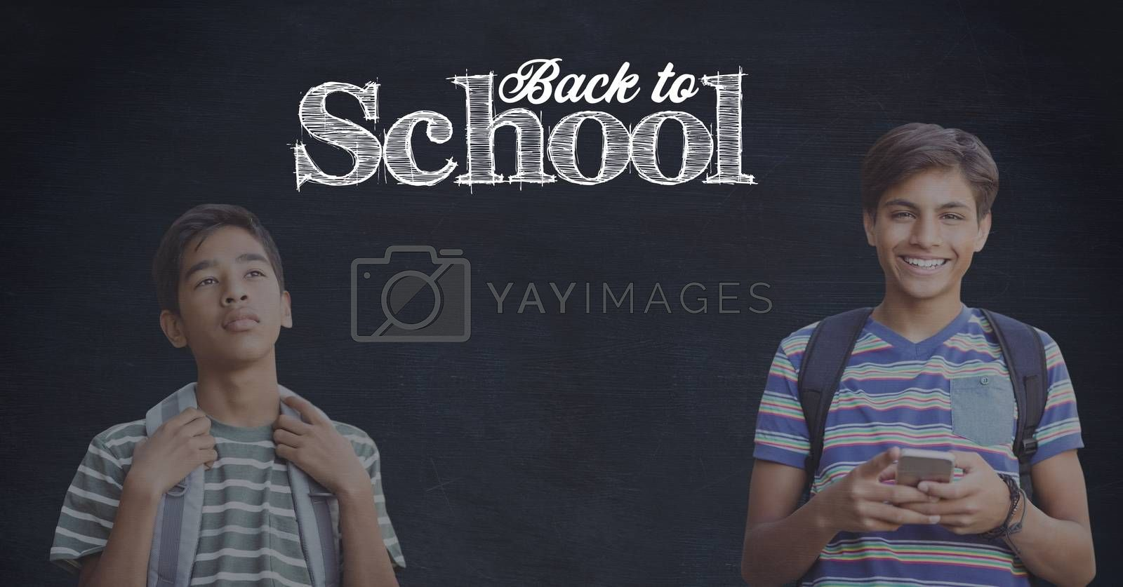 Digital composite of Students and Back to school text on blackboard