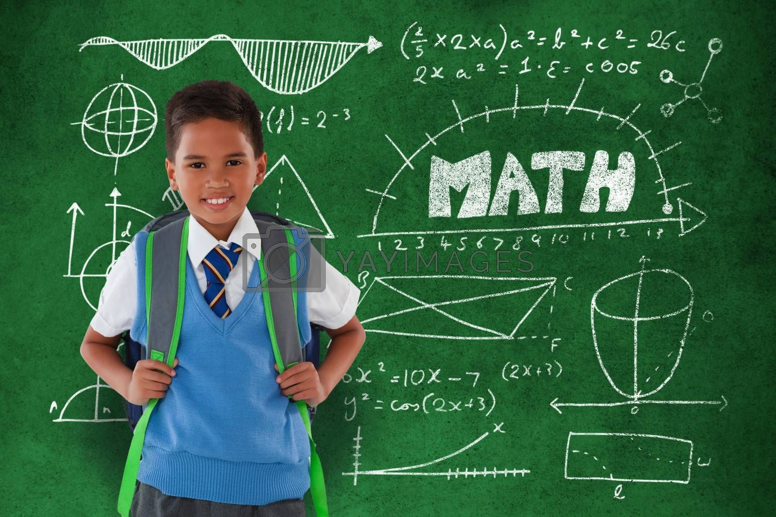 Composite image of portrait of schoolboy carrying schoolbag against white background by Wavebreakmedia