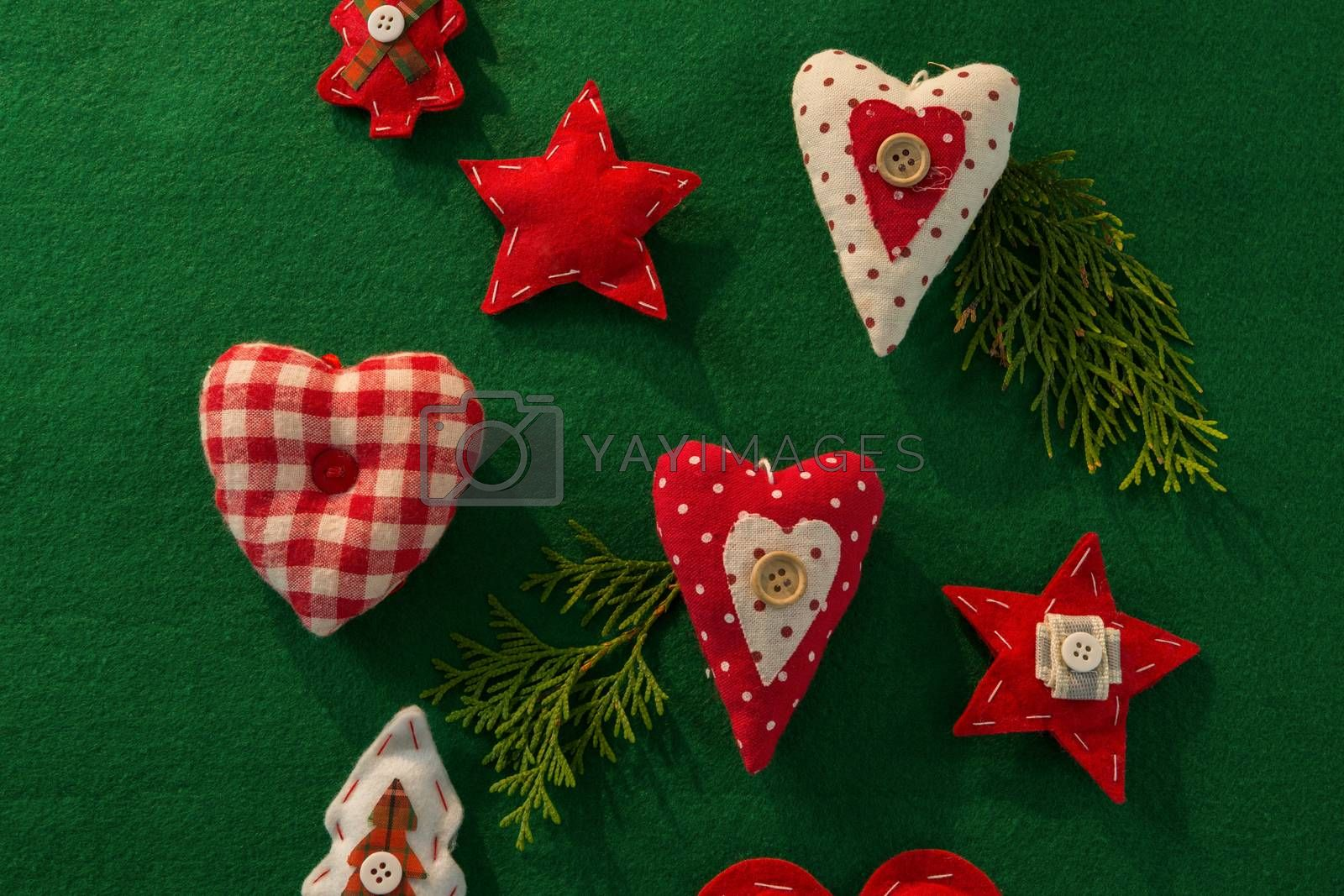 Overhead view of Christmas decoration with various shapes by Wavebreakmedia