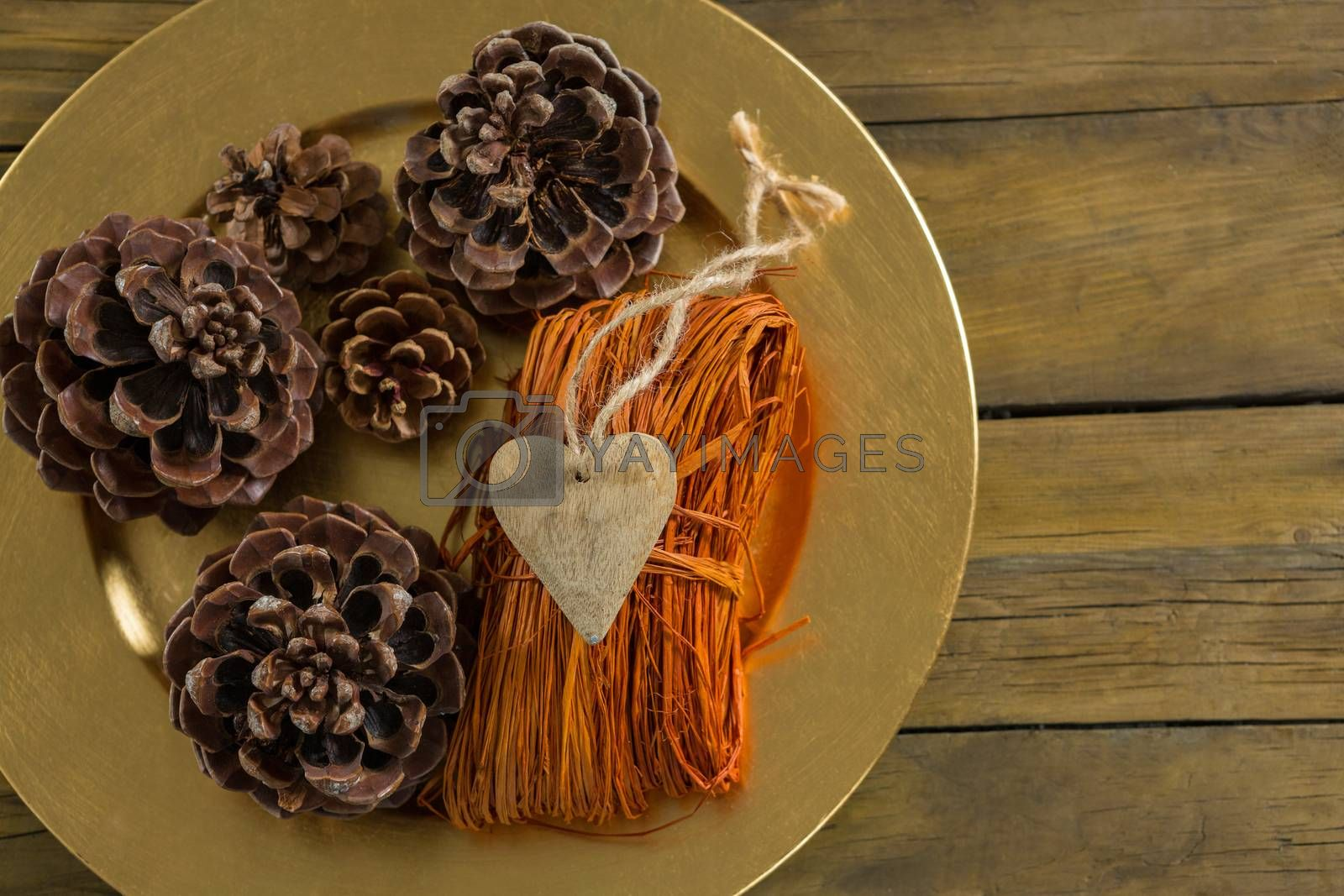 Overhead view of pine cones with thread in plate by Wavebreakmedia