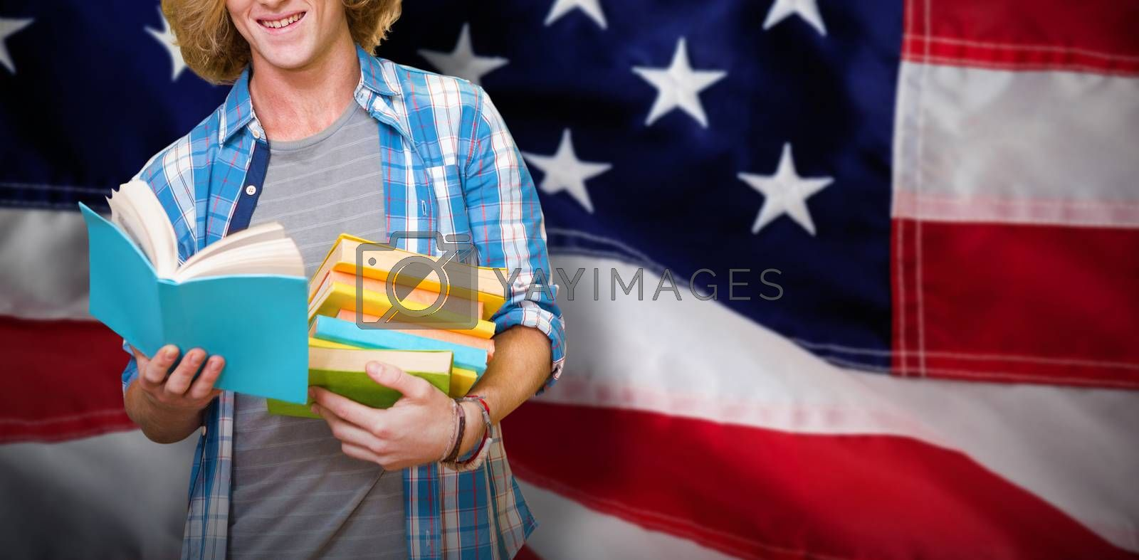Composite image of student reading book by Wavebreakmedia