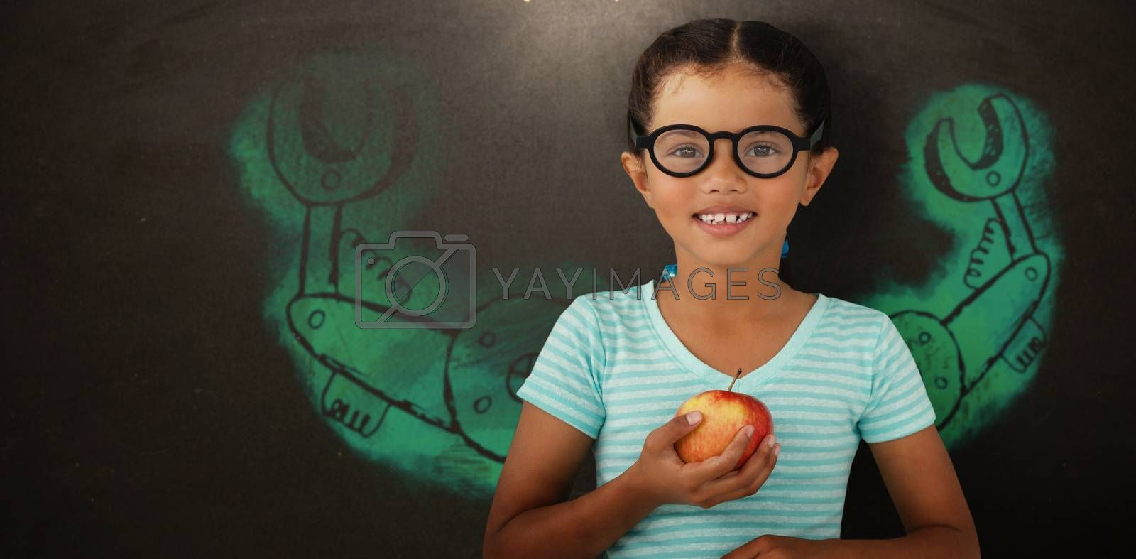 Composite image of portrait of smiling girl wearing eyeglasses holding apple by Wavebreakmedia