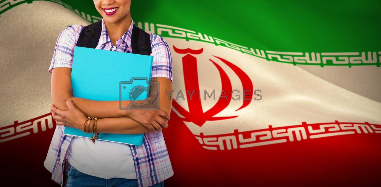 Composite image of casual young woman with folder in office by Wavebreakmedia