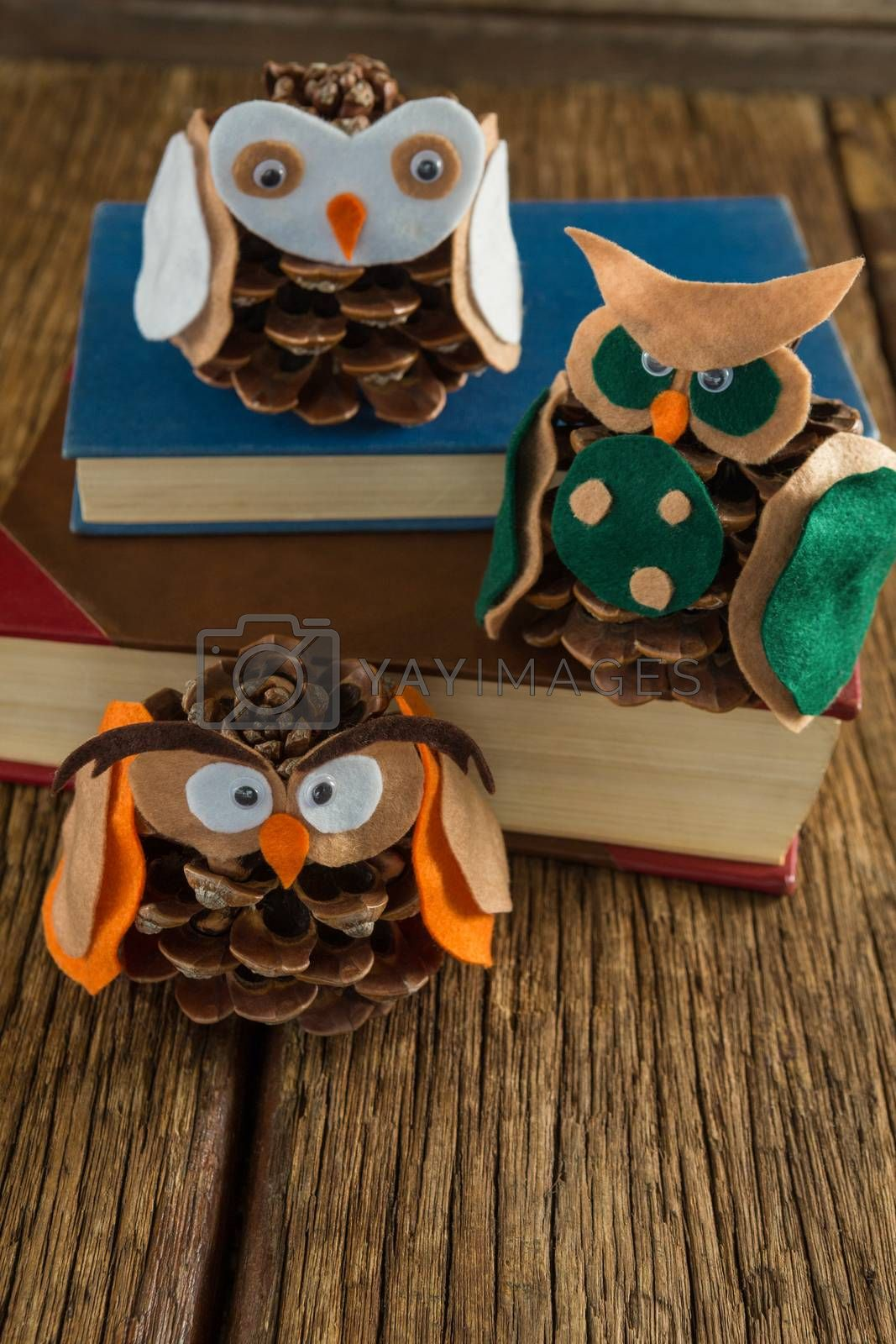 Owl decorated with pine cone and book stack on wooden table by Wavebreakmedia