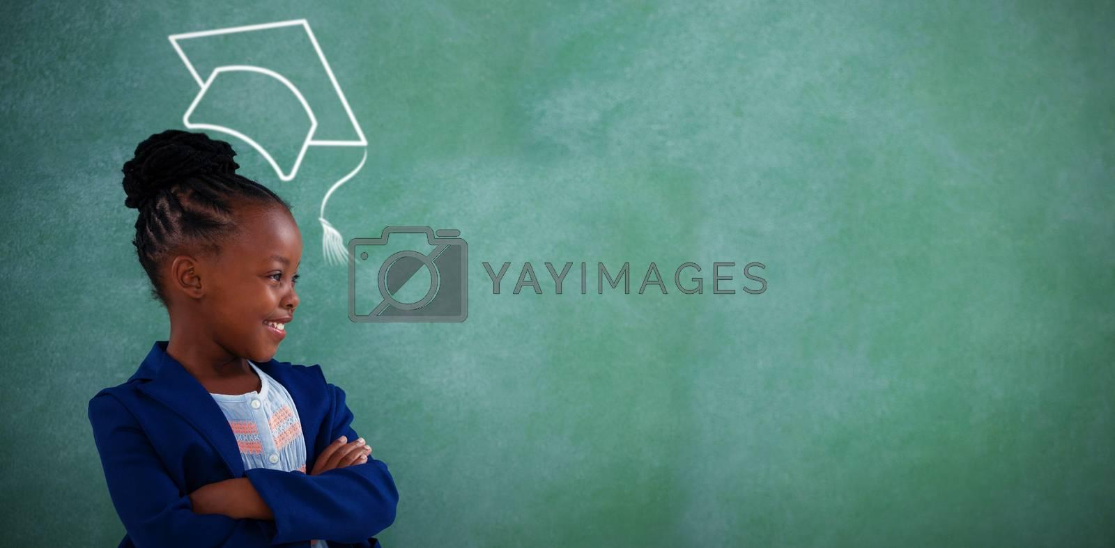 Composite image of graduation hat vector by Wavebreakmedia