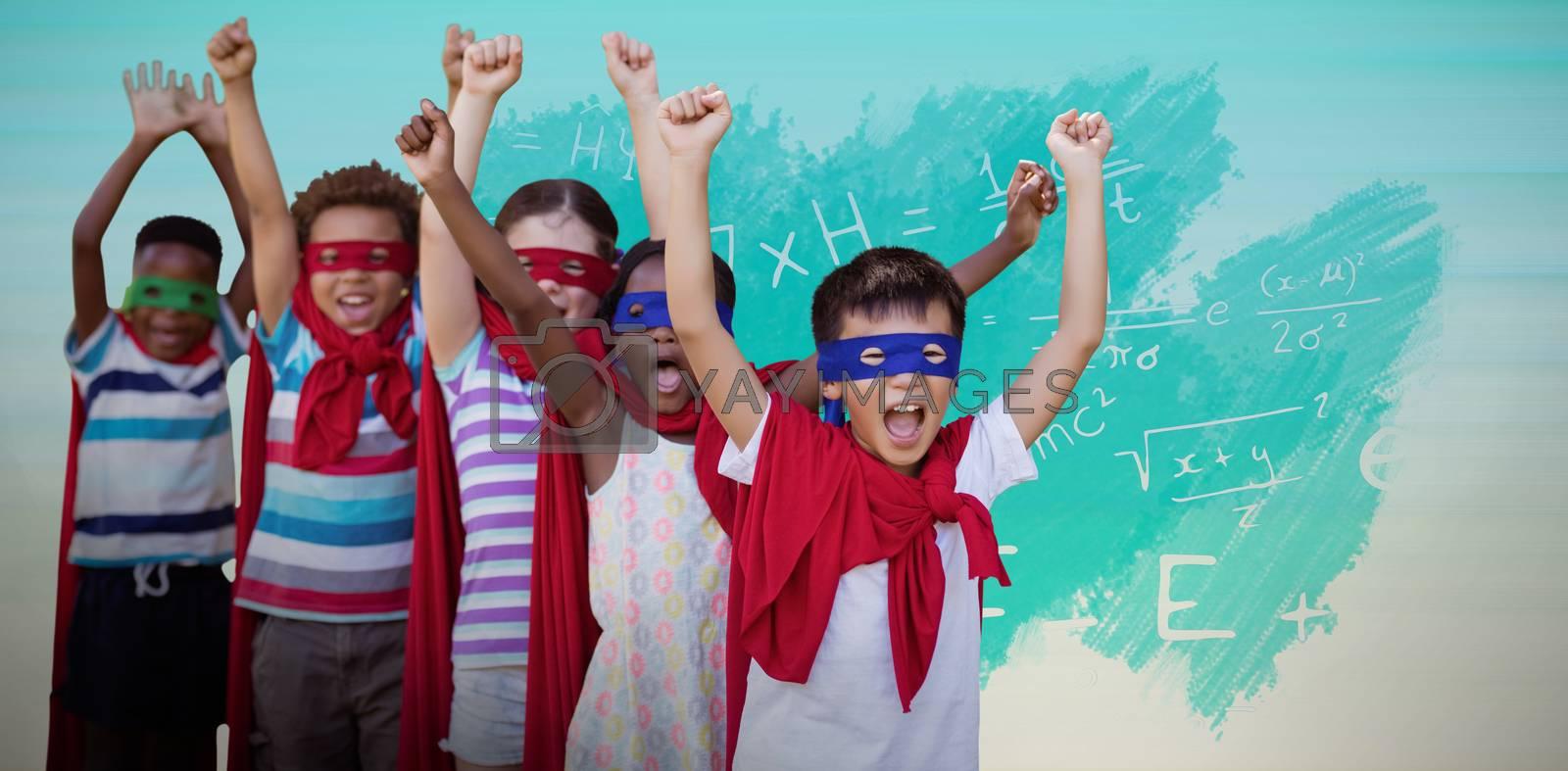 Composite image of children in superhero costumes by Wavebreakmedia